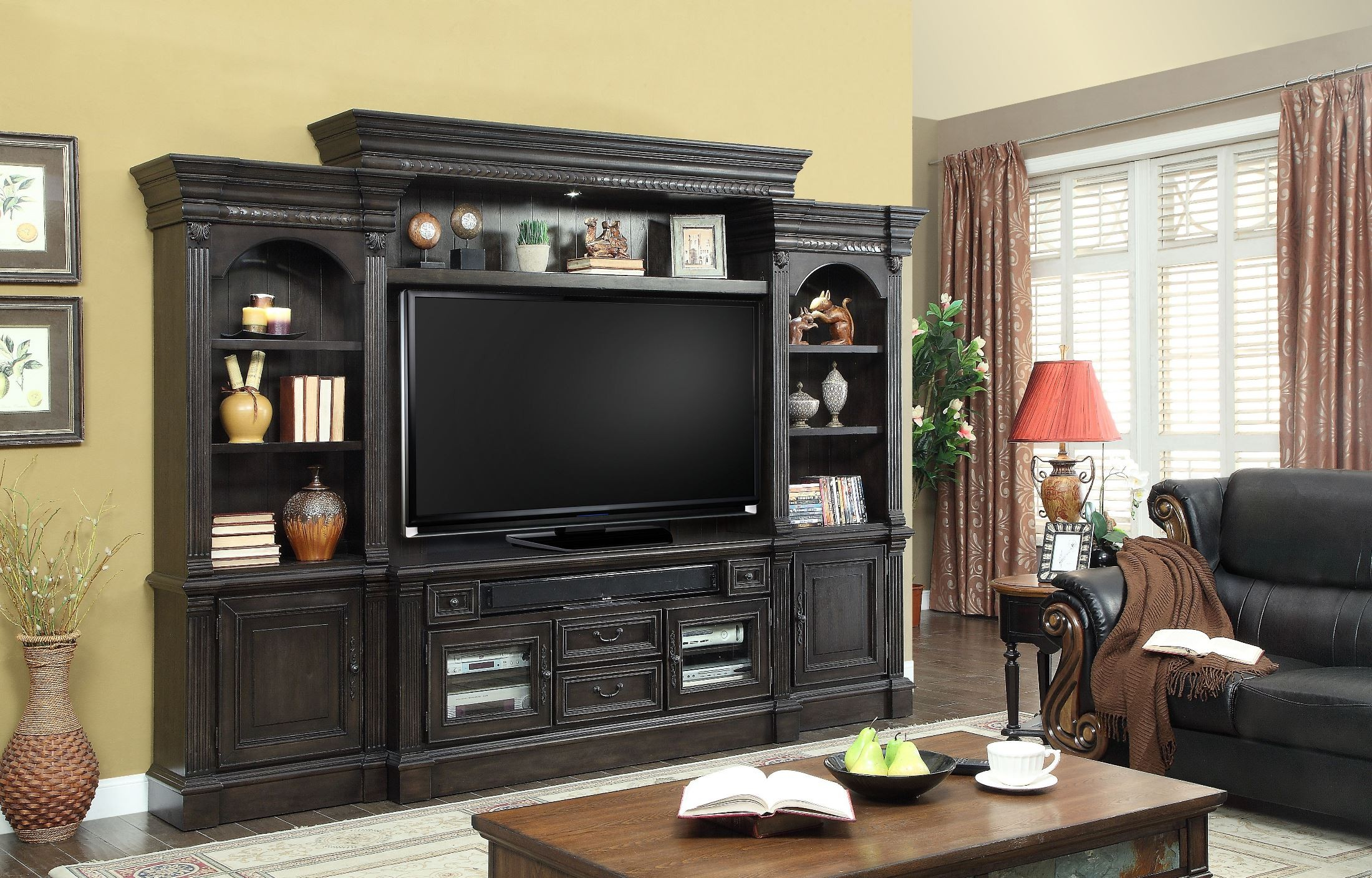 Fairbanks vintage burnished black 4pc entertainment wall for Furniture fairbanks