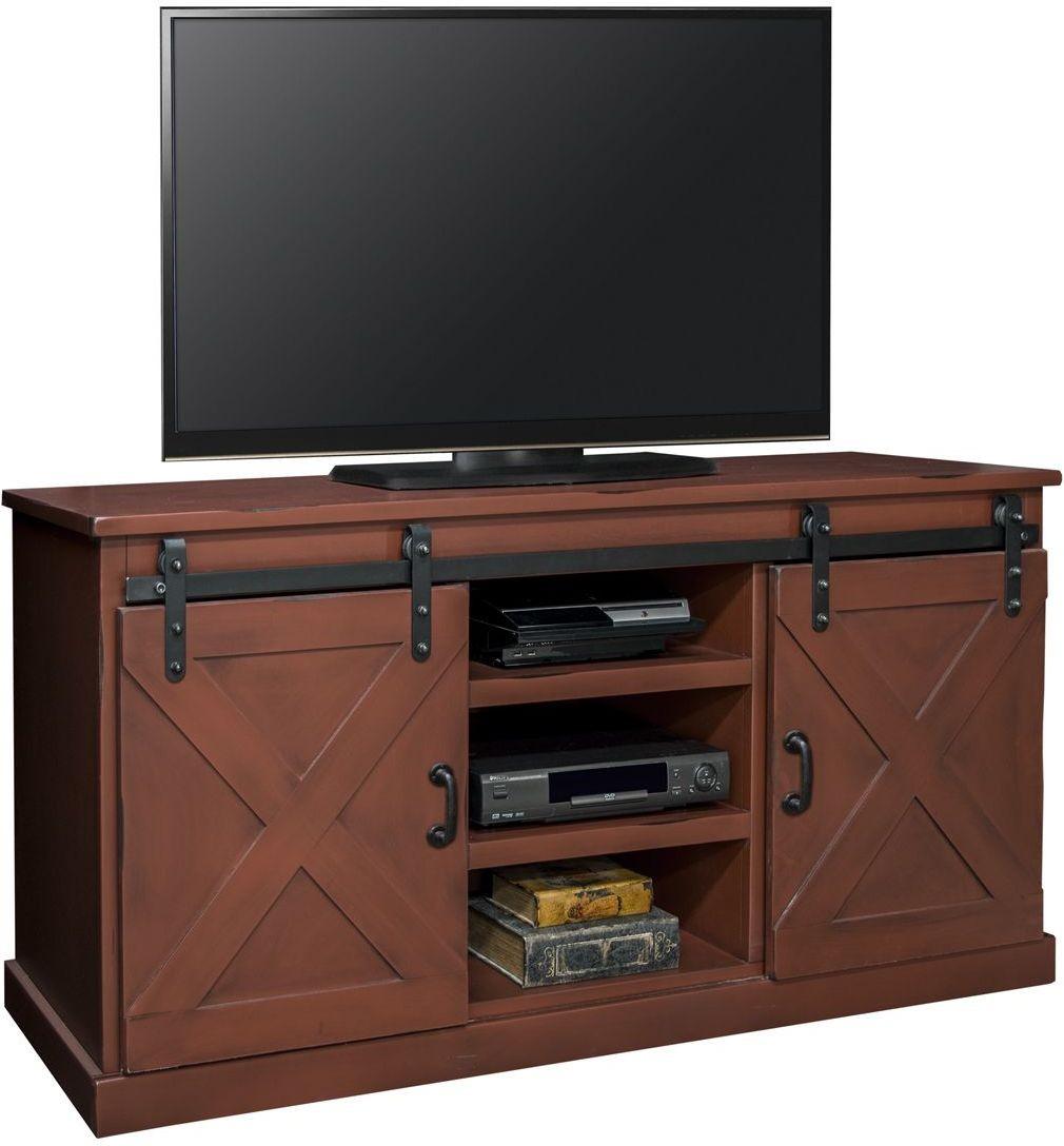 "Farmhouse 66"" Red TV Console FH1430 RRD Legends Furniture"