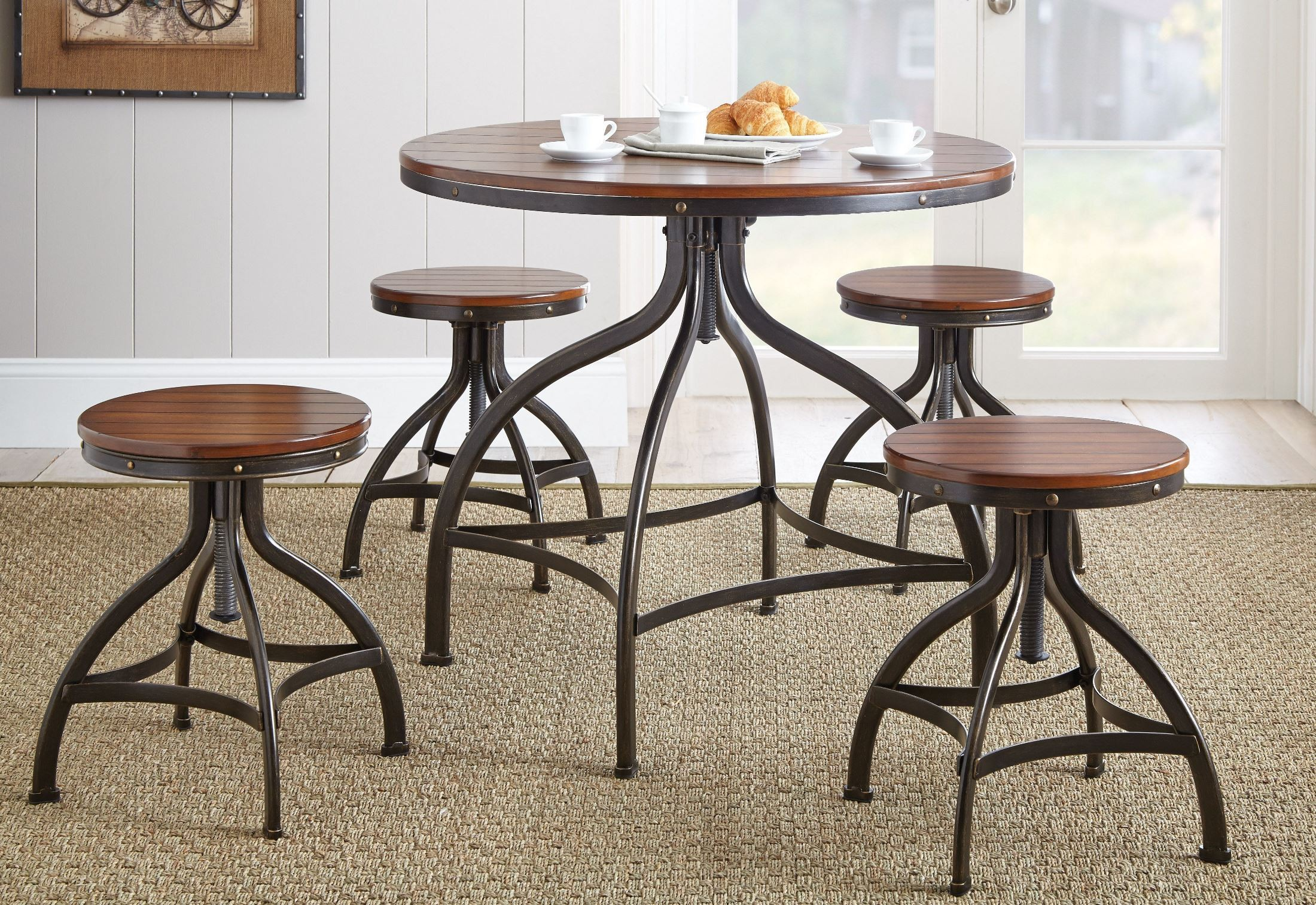 Fiona 36 round metal swivel dining table from steve for Rotating dining table