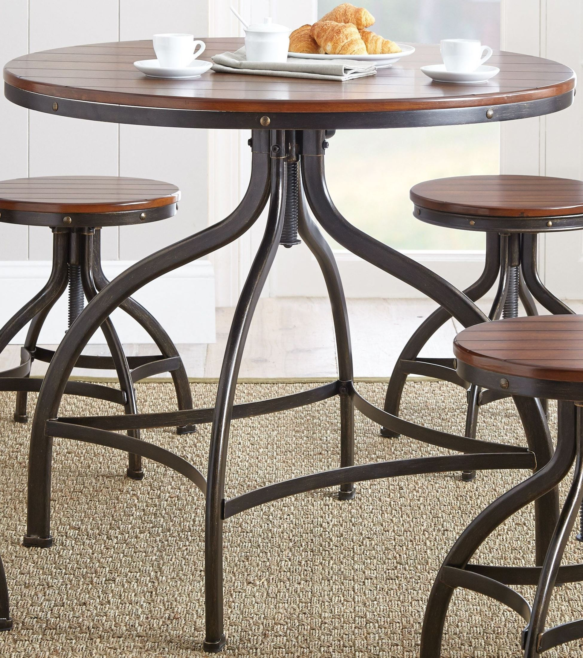 fiona 36 round metal swivel dining table from steve silver fl3636pt fl3636pts coleman furniture. Black Bedroom Furniture Sets. Home Design Ideas