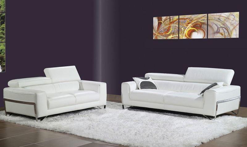 flynt white leather living room set from bellini modern