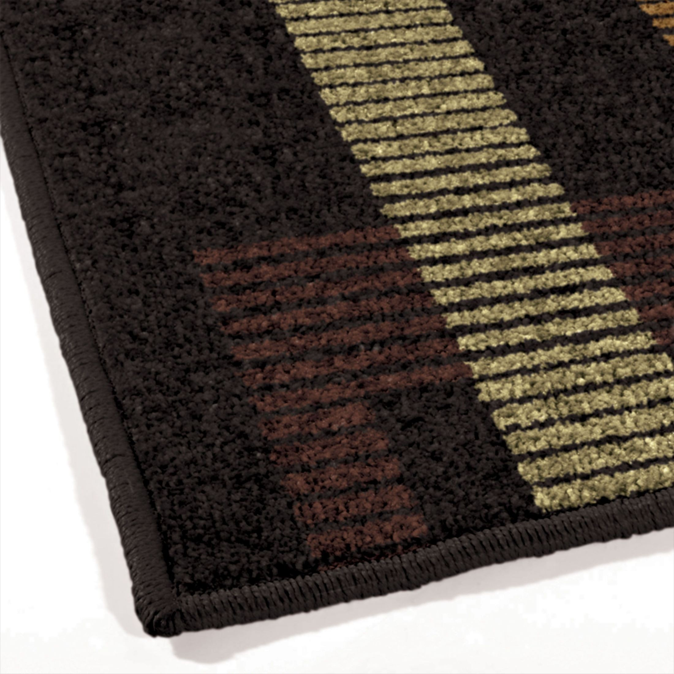 Orian Rugs Indoor Outdoor Lines Trenton Black Area