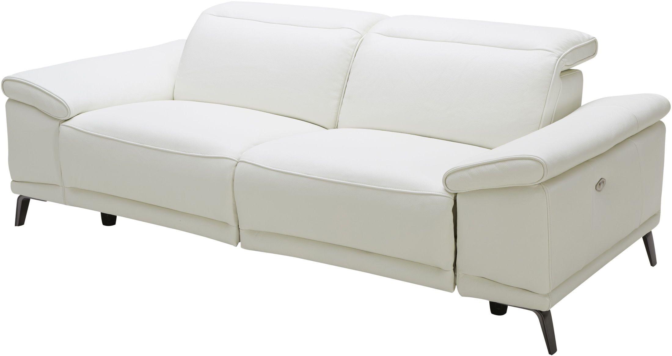 Gaia White Leather Power Reclining Sofa 18253 S JampM