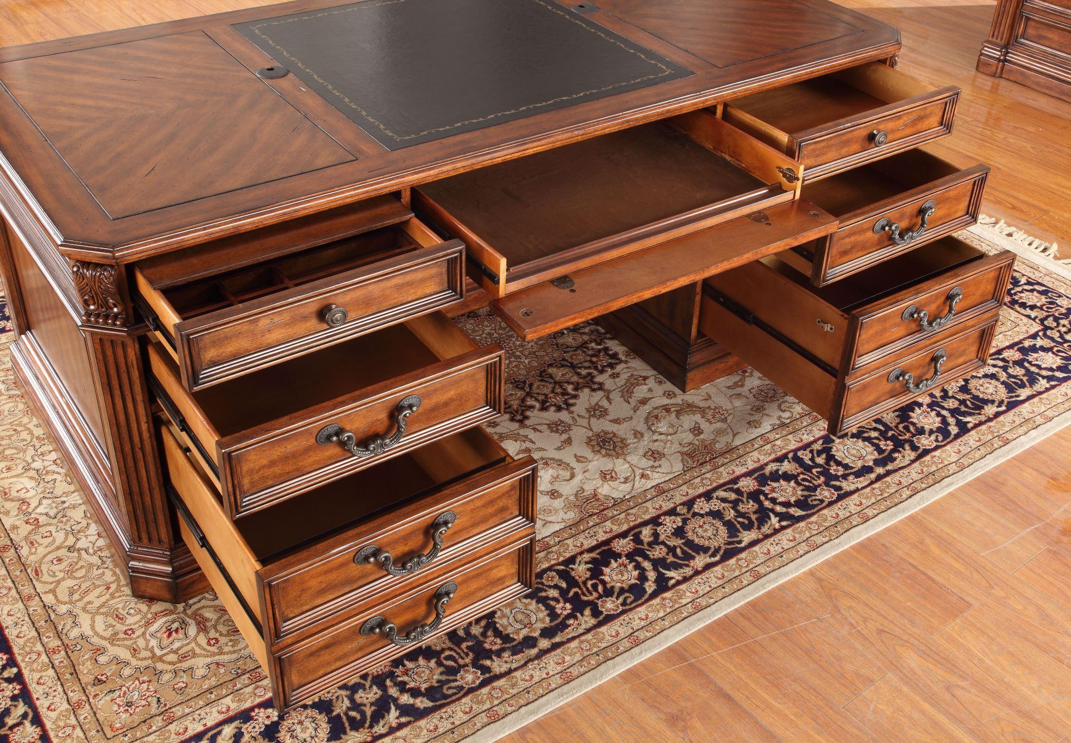 Grand Manor Granada Double Pedestal Executive Desk From Renegade Ggra 9080 3 Coleman Furniture