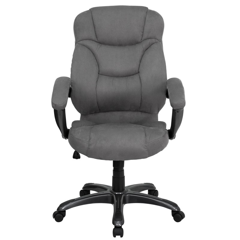 High Back Gray Microfiber Upholstered Contemporary Office Chair From Renegade