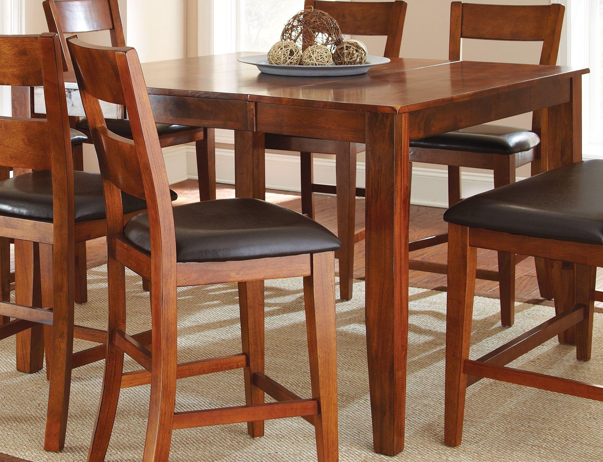 Mango medium brown extendable rectangular counter height for Counter height extendable dining table