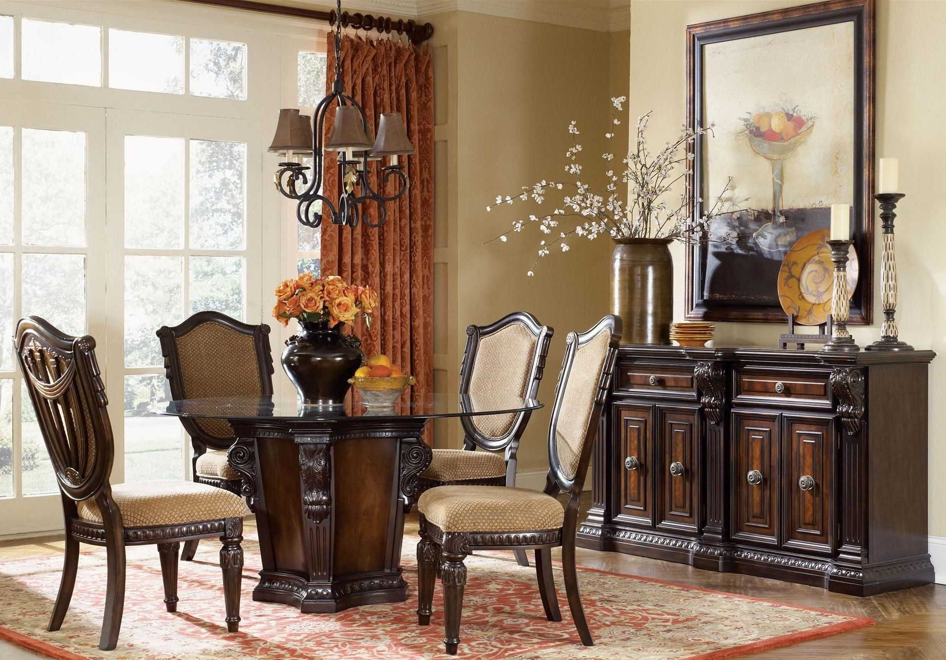 Grand estates cinnamon 60 round dining room set from for Fairmont designs dining room