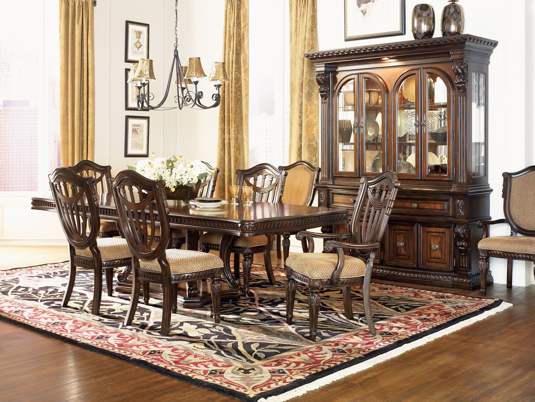 Fairmont Designs Grand Estates Dining Room Set with Double  : grandeestatesdiningwood2 from colemanfurniture.com size 1800 x 1351 jpeg 768kB