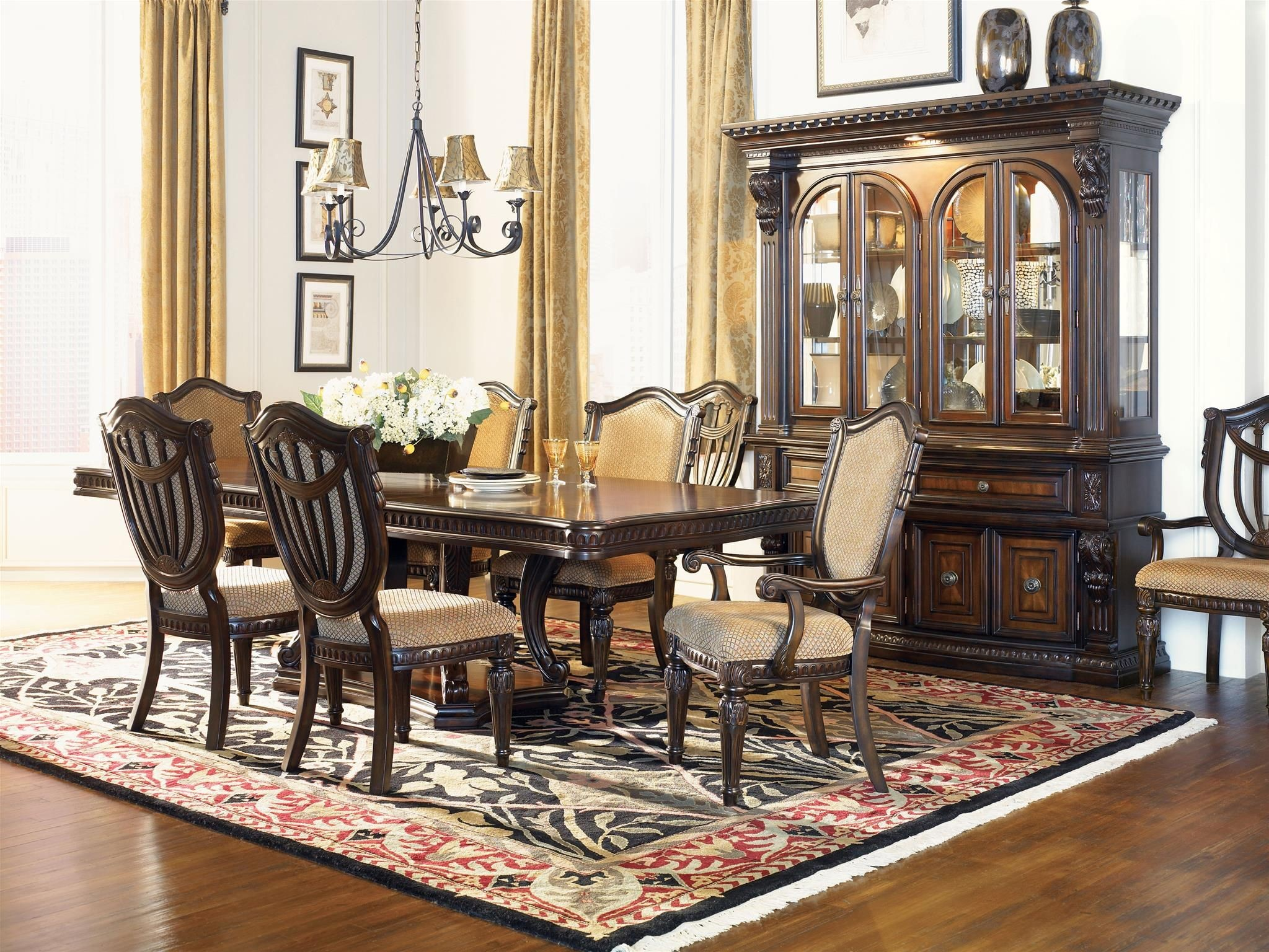 Grand estates cinnamon extendable double pedestal dining for Showcase designs for dining room