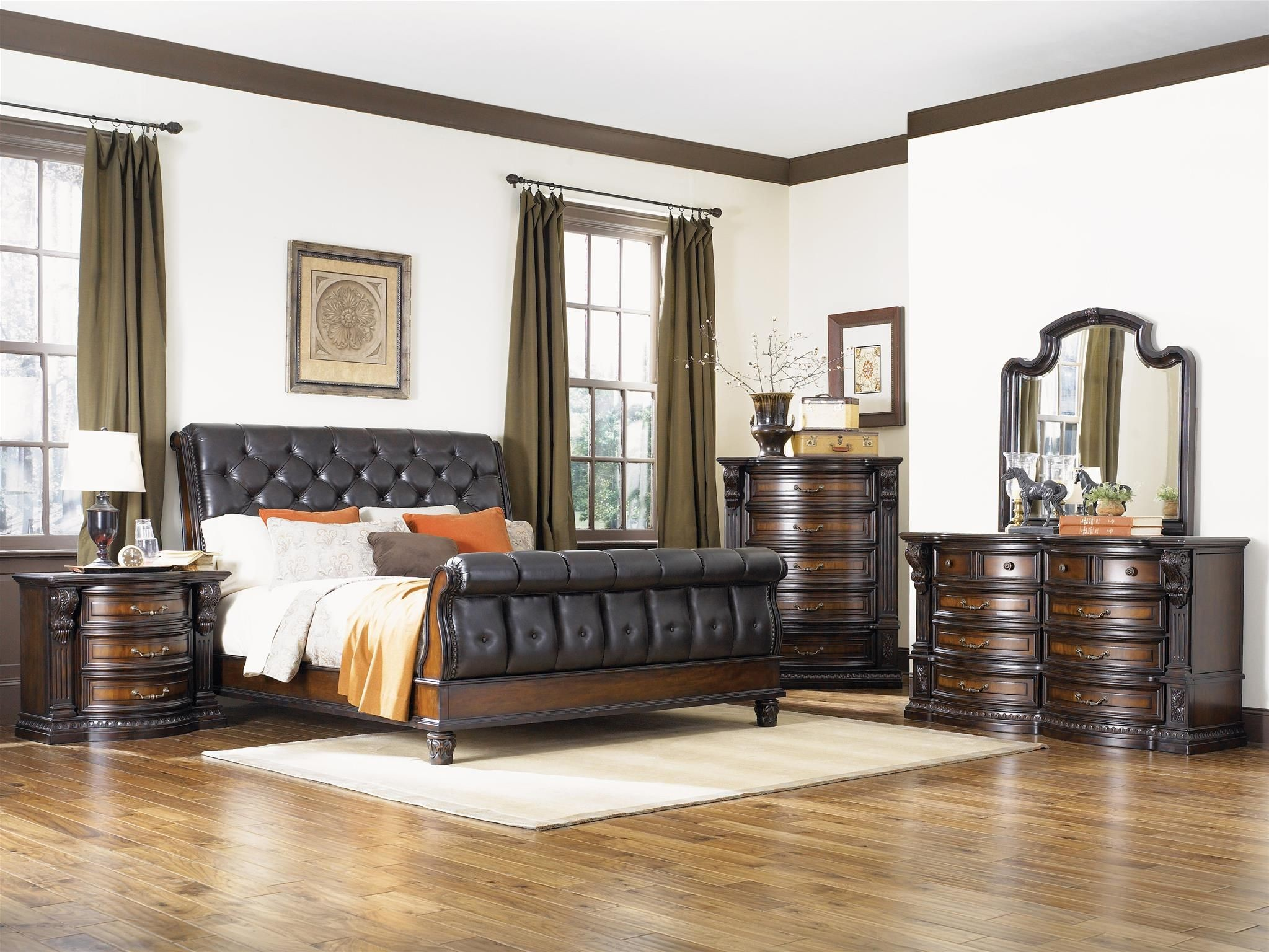 Grand estates cinnamon sleigh bedroom set from fairmont for Grand bedroom designs