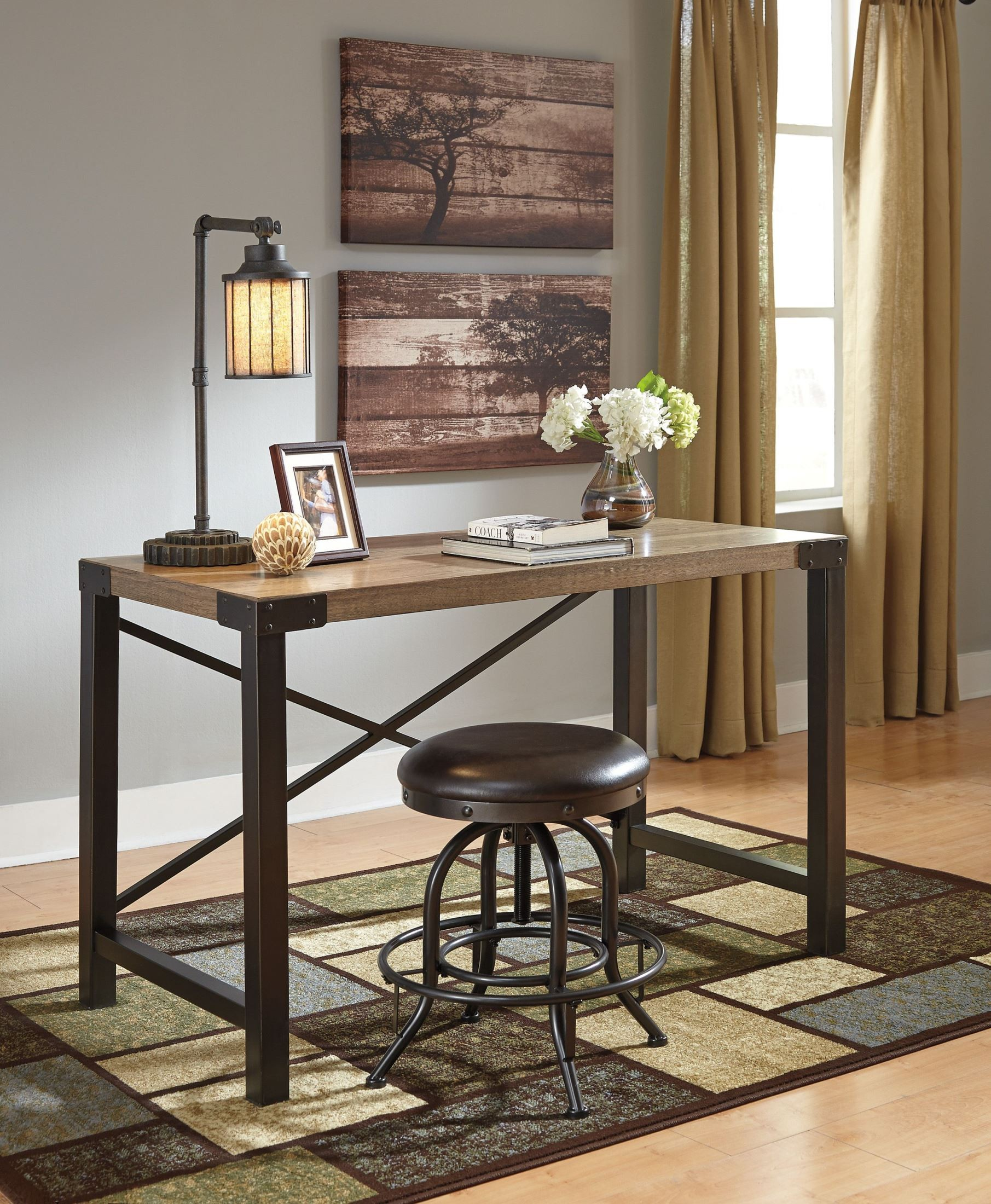 Dexifield light brown home office small desk from ashley for Light brown house