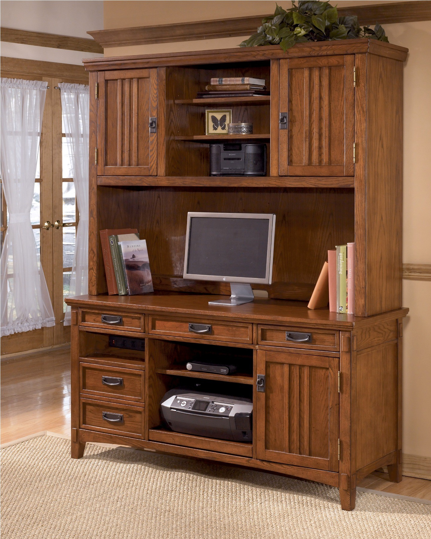 Cross Island Credenza W Hutch Home Office Set From Ashley