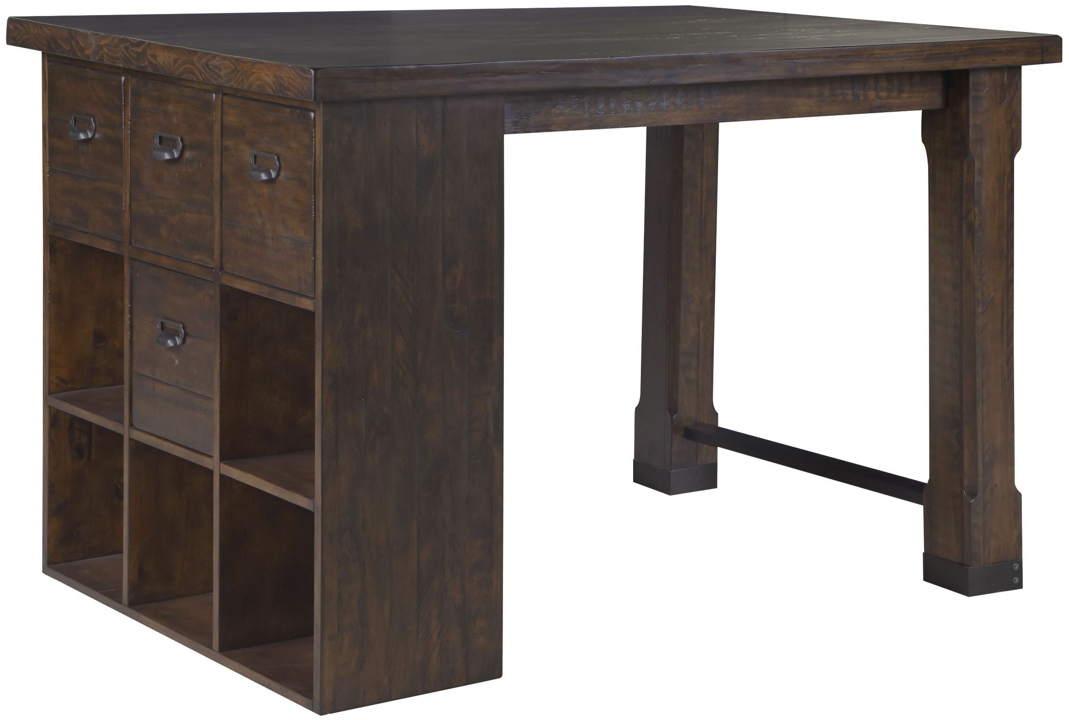 Pine Hill Rustic Pine Counter Height Desk, MAG-H3561-06T-06B ...