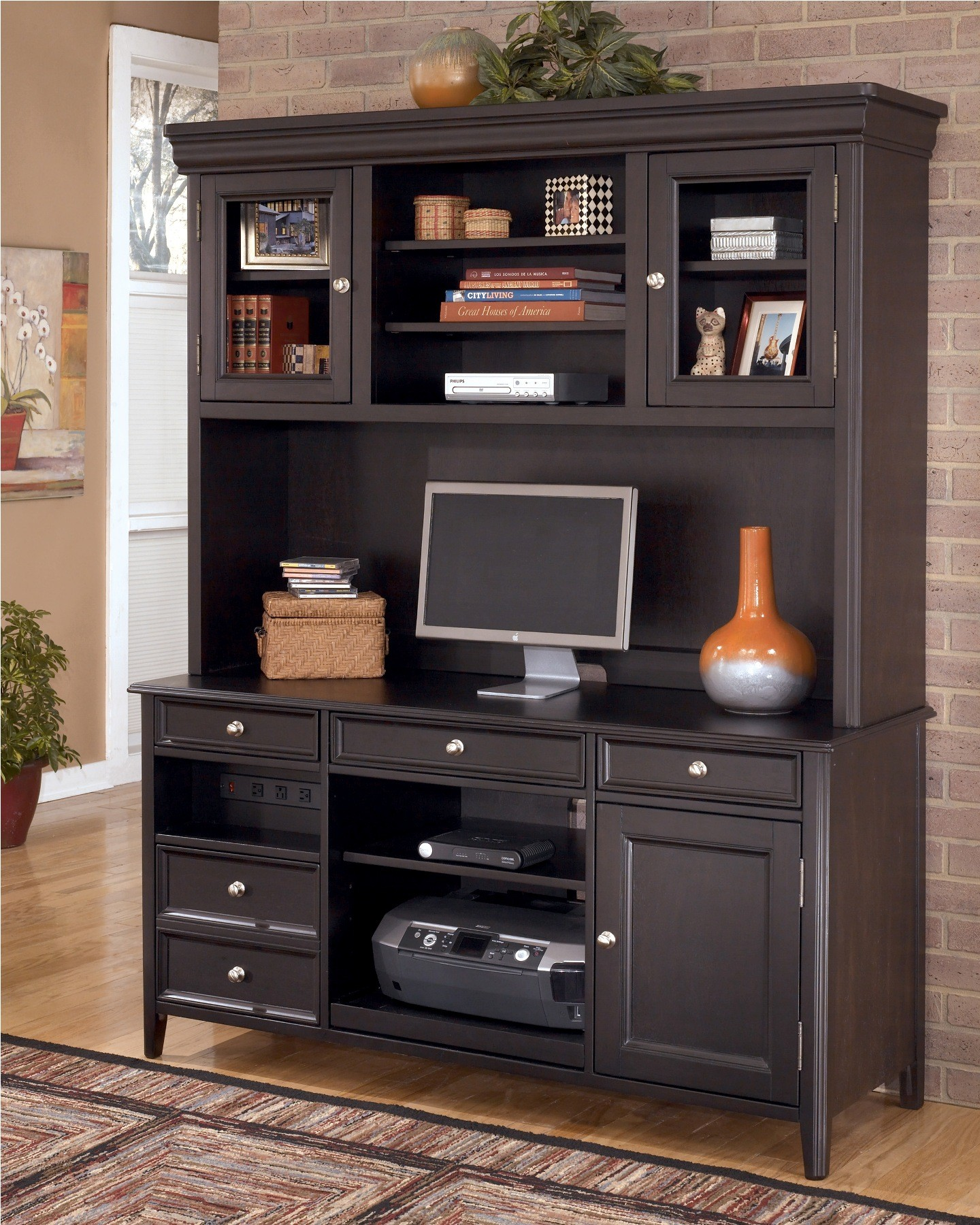 Ashley carlyle large office credenza w large hutch h371 office furniture - Home office desk with hutch ...