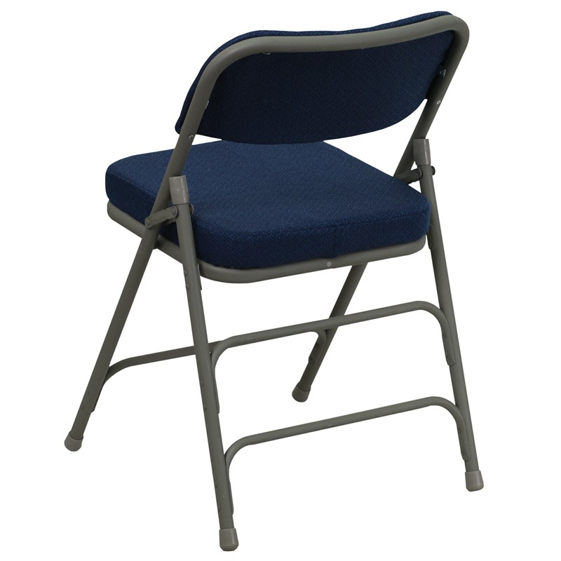 Hercules Series Premium Curved Navy Fabric Folding Chair from Renegade HA MC