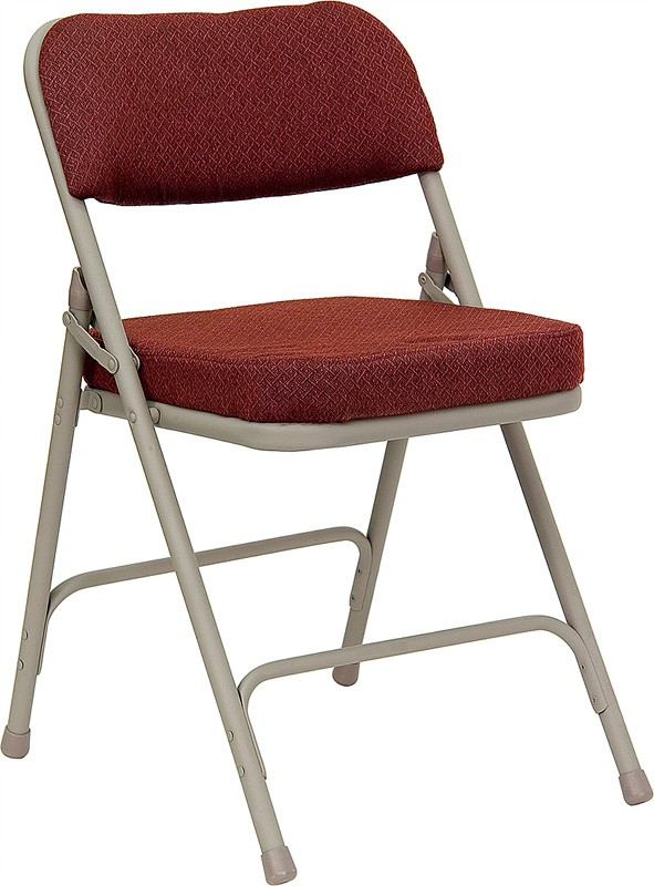 Hercules Burgundy Fabric Upholstered Premium Folding Chair