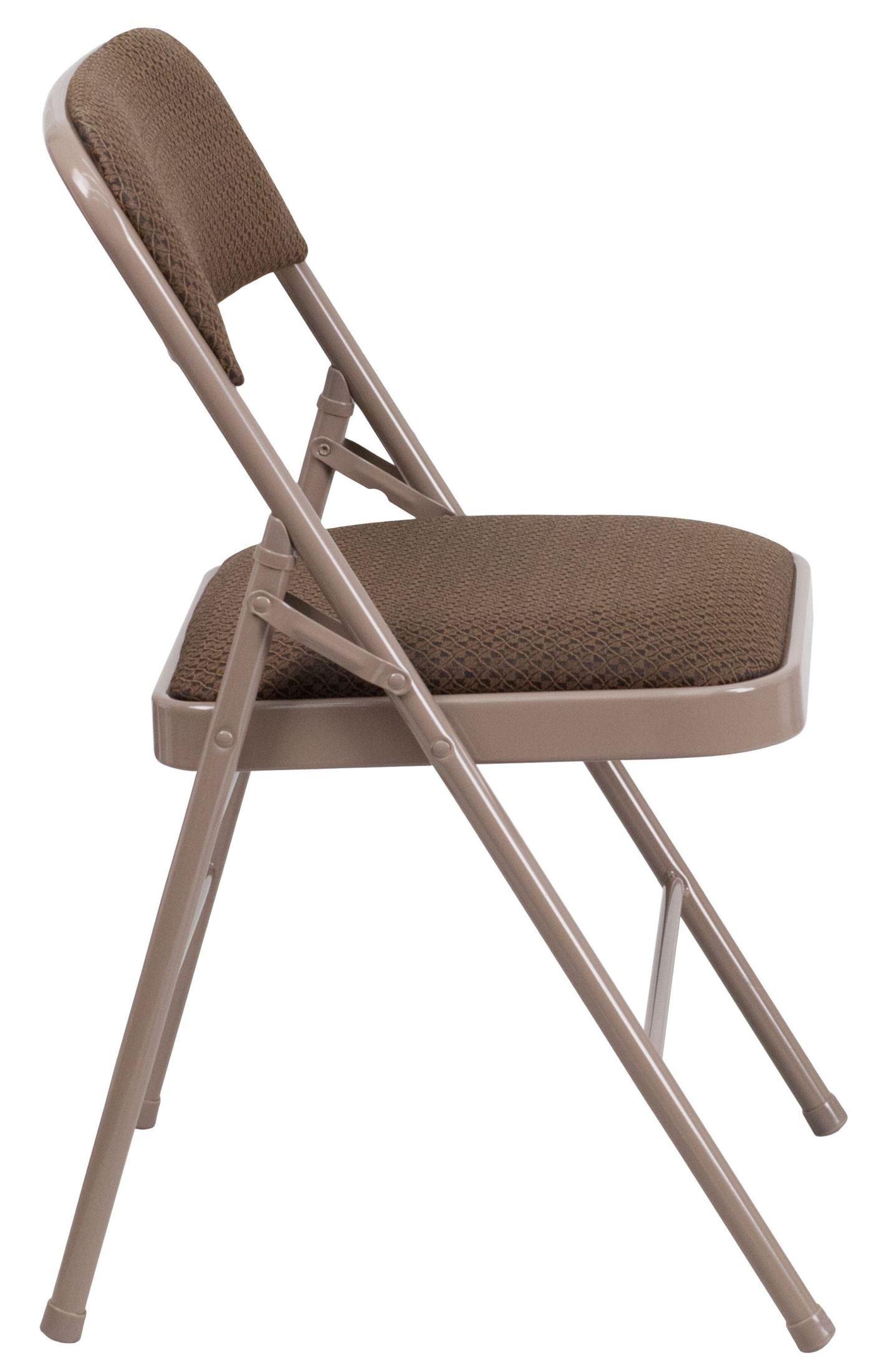 Hercules Series Triple Braced Brown Fabric Metal Folding Chair HF3 4 GG Ren