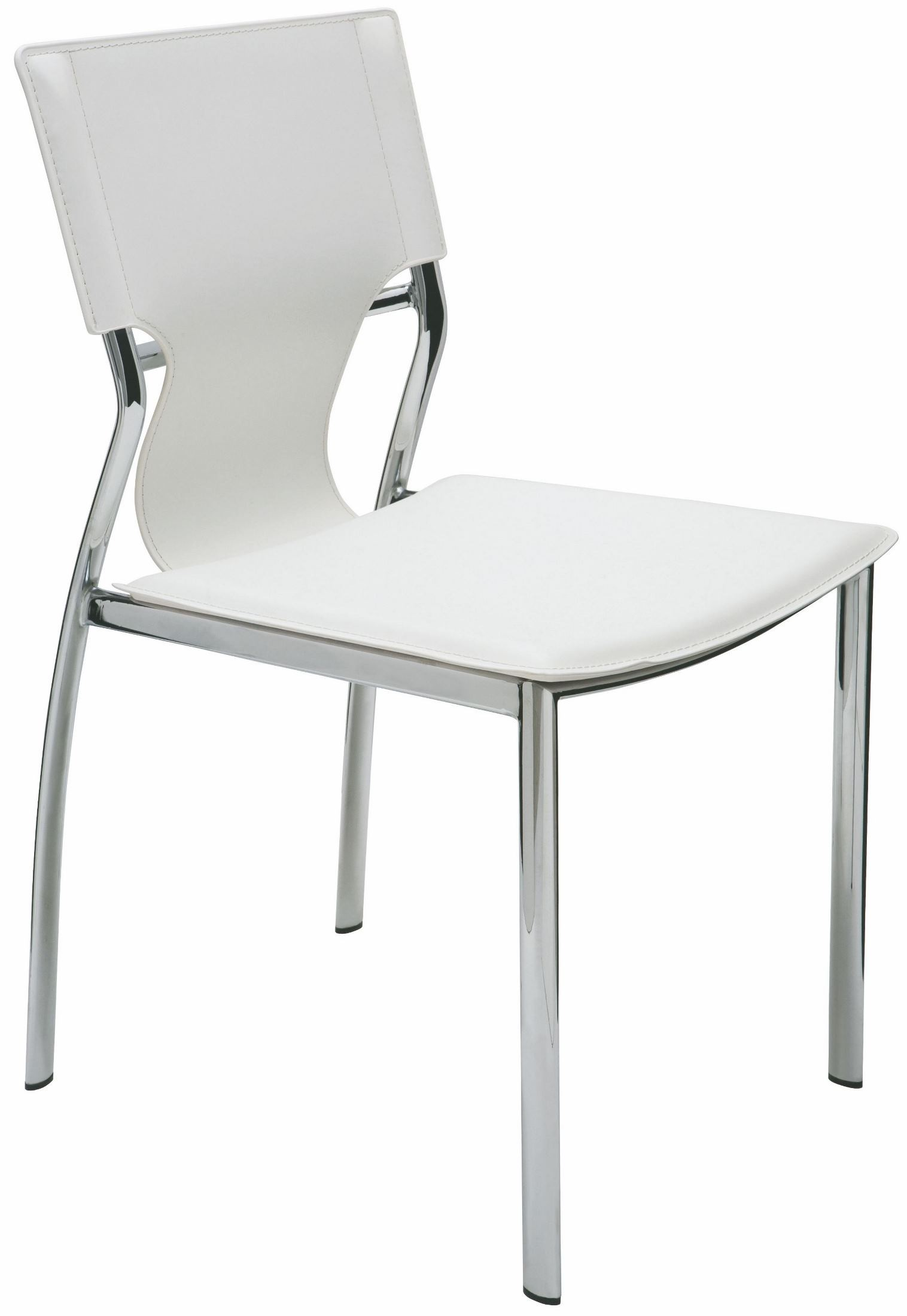 Lisbon white leather dining chair hgga243 nuevo for White leather dining chairs