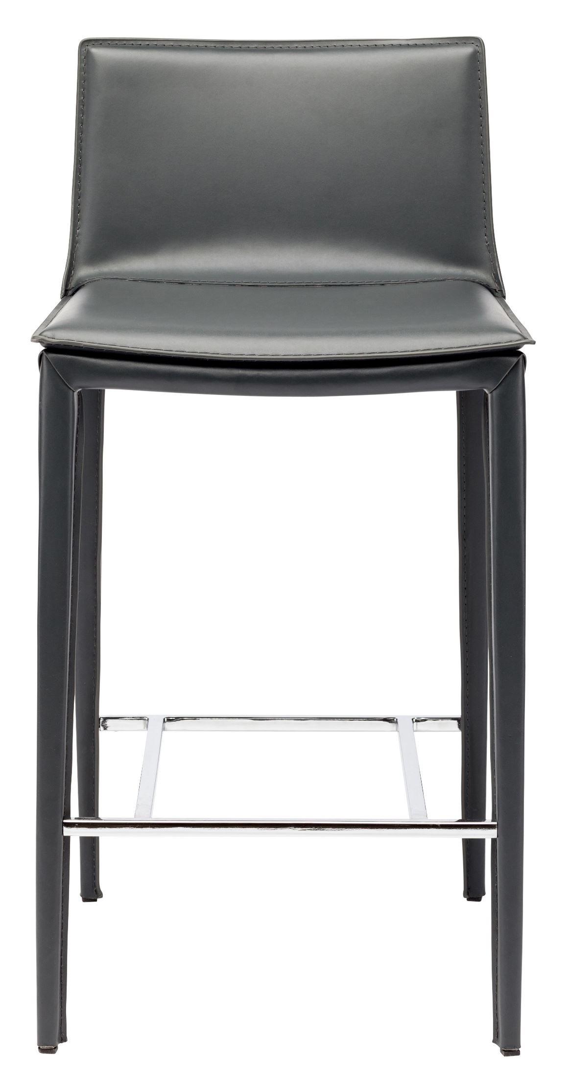 Palma Grey Leather Counter Stool Hgnd110 Nuevo