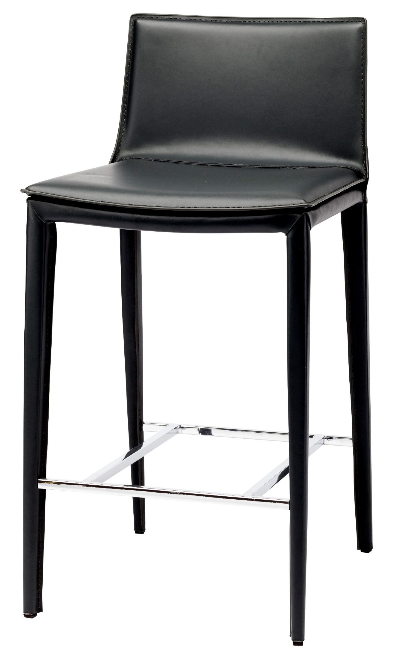 Palma black leather counter stool hgnd112 nuevo for Black counter stools