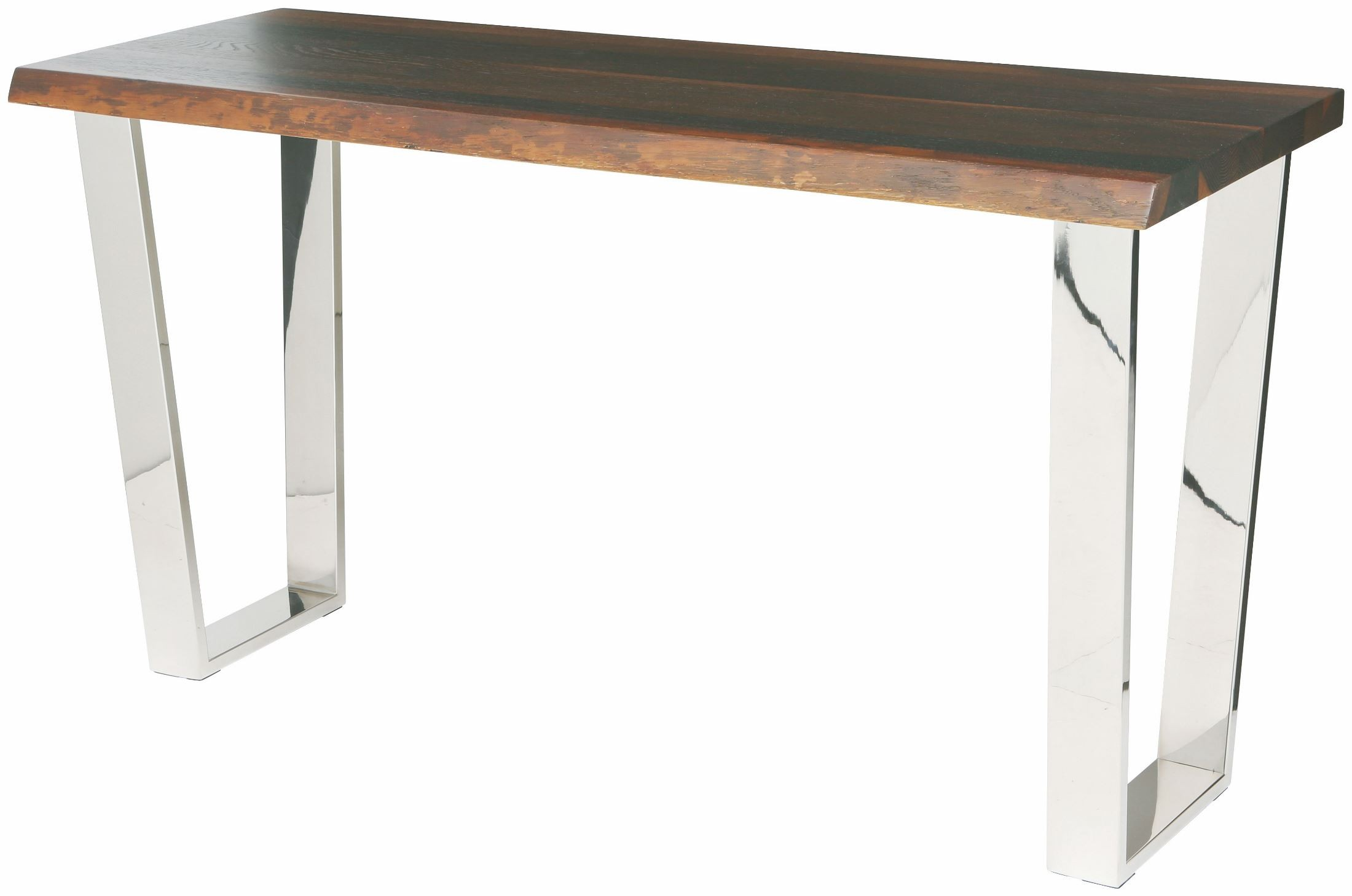 Versailles Polished Stainless Steel And Raw Oak Console