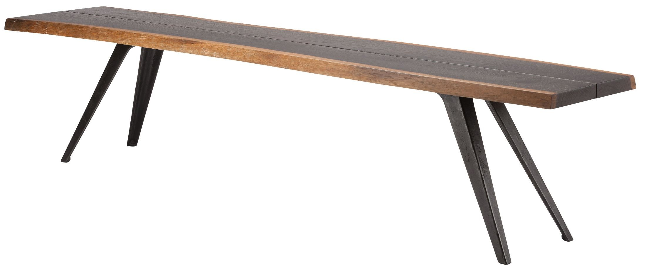 home vega 75 seared wood and black metal dining bench