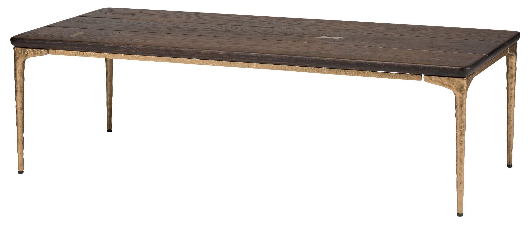 Kulu seared wood coffee table hgsr626 nuevo for Bronze metal coffee table