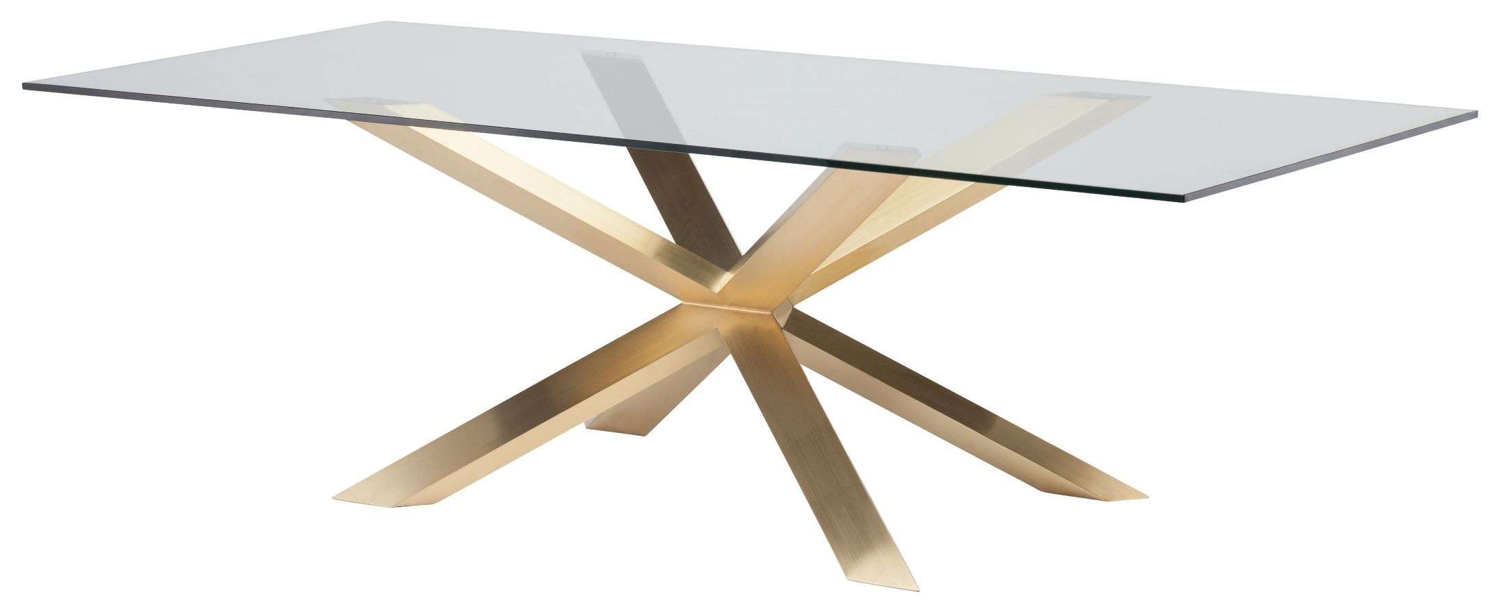 Couture 94 Quot Brushed Gold Clear Glass Dining Table Hgsx149