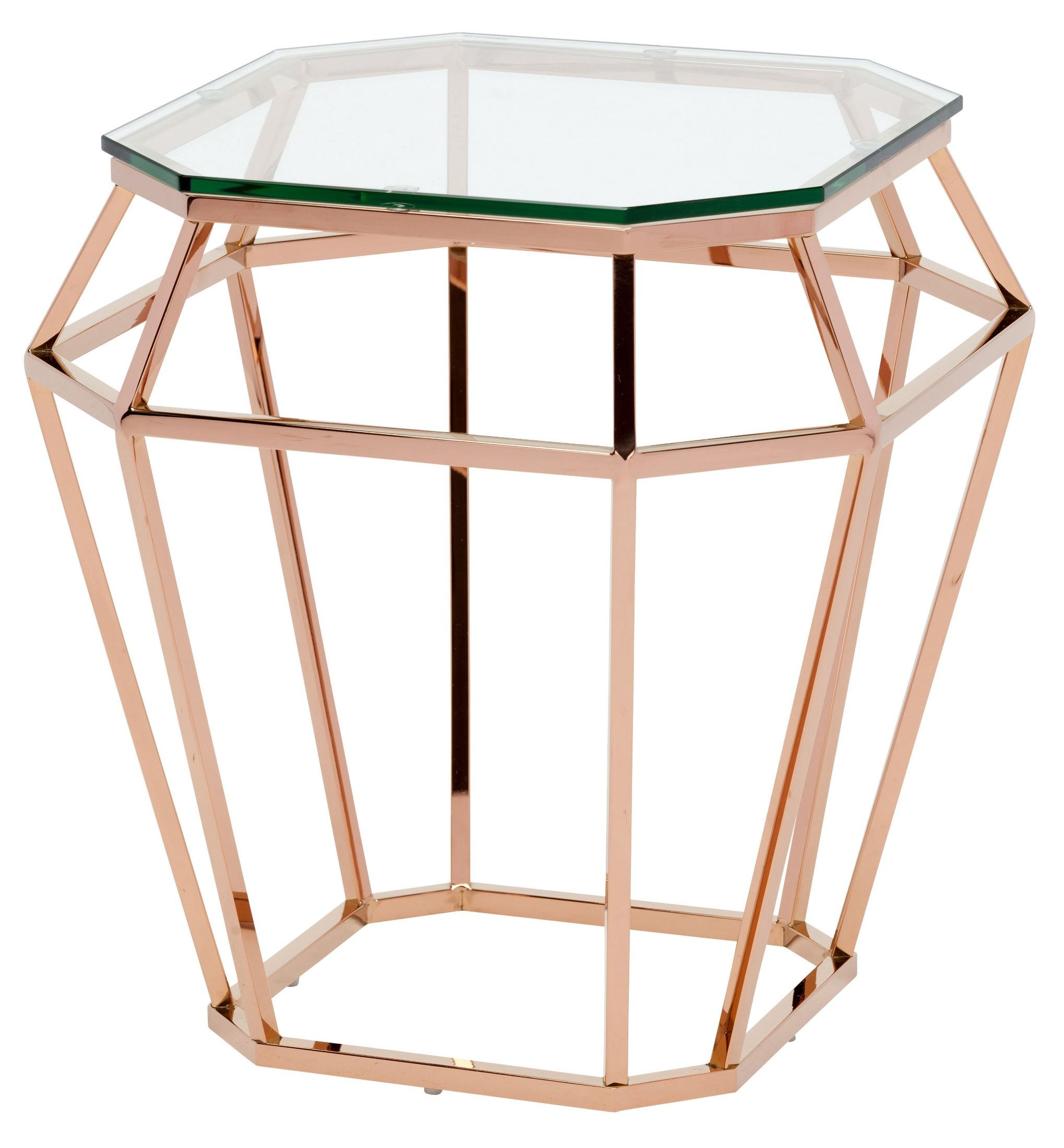 Rose Gold Mirrored Coffee Table: Diamond Clear Glass Side Table, HGSX179, Nuevo