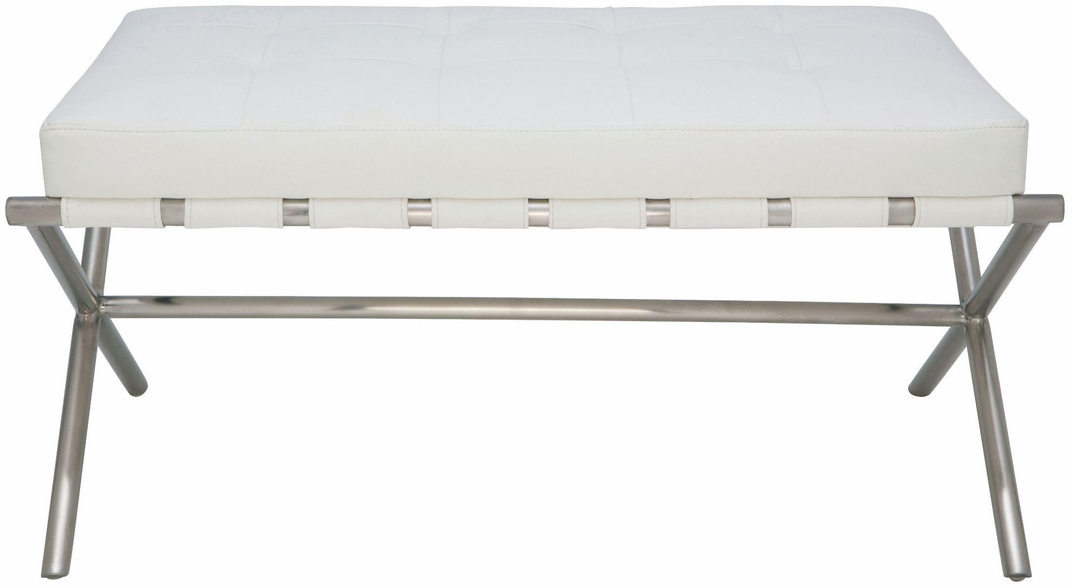 Auguste White Naugahyde Small Occasional Bench Hgta667 Nuevo