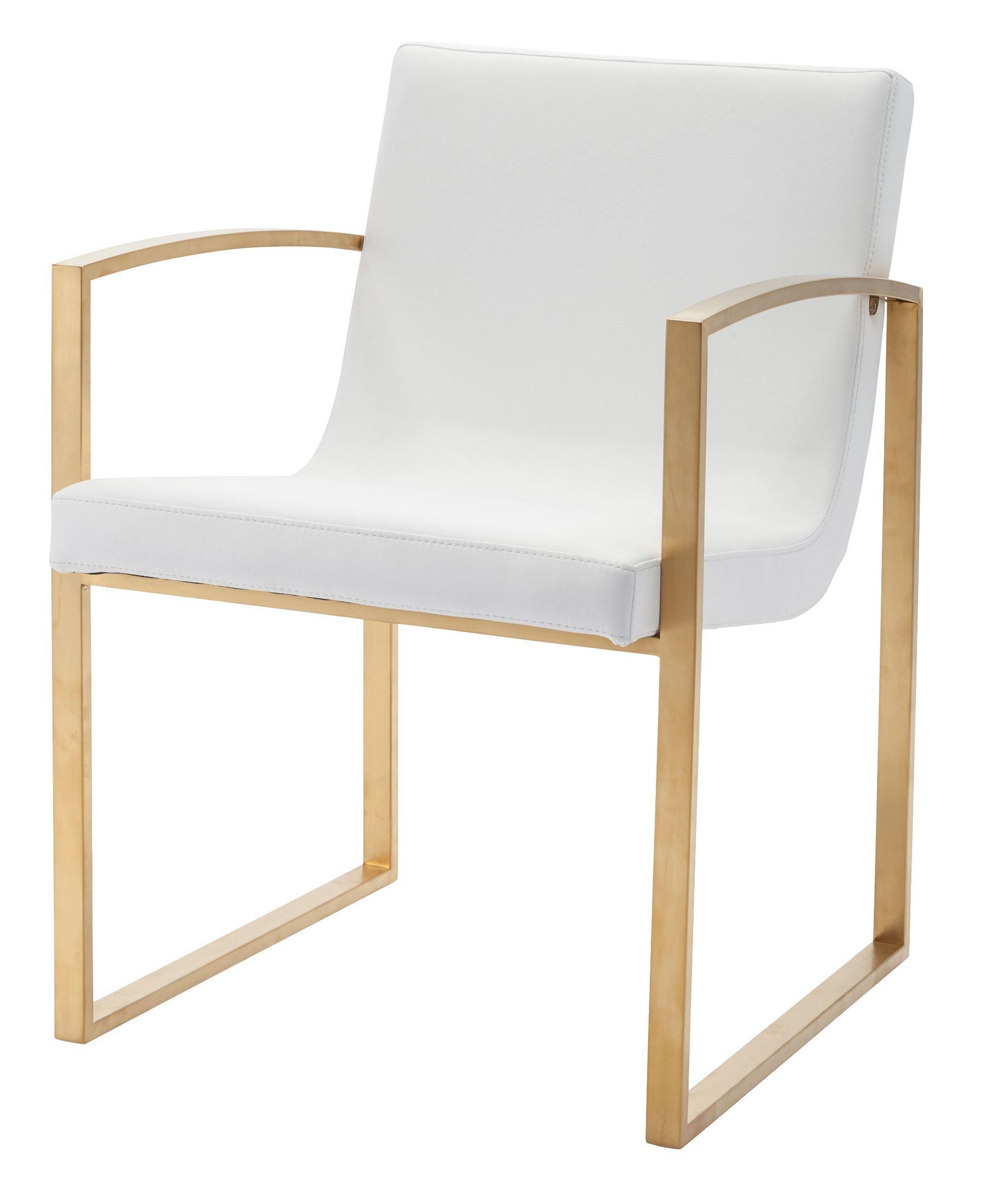 Clara White & Gold Naugahyde Dining Chair HGTB324 Nuevo