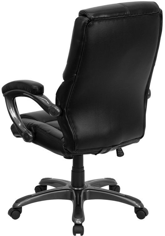 31257 Embroidered High Back Black Leather Executive Swivel Office Chair GO 7