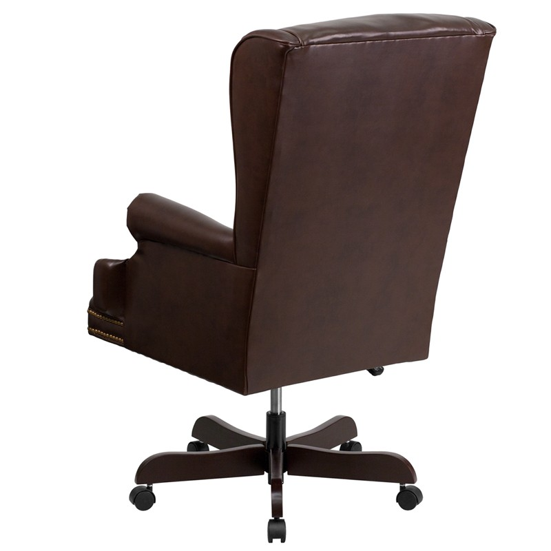 J600 BRN High Back Tufted Brown Leather Executive fice