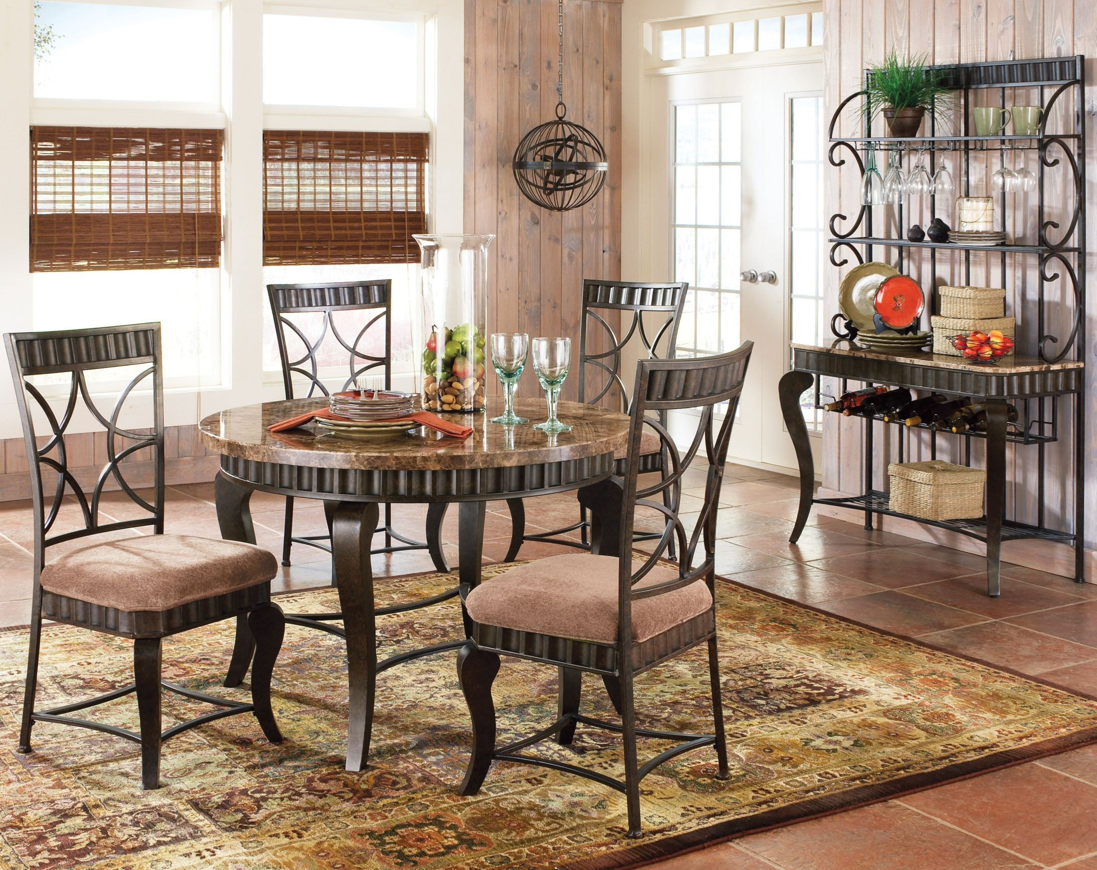 Hamlyn spanish brown dining room set from steve silver for Dining room in spanish