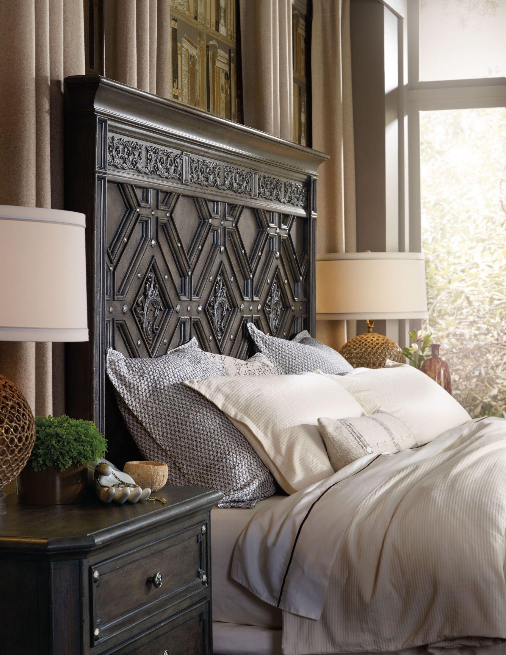 Vintage West Charcoal Gray Wood Panel Bedroom Set 5700 90266 Hooker Furniture