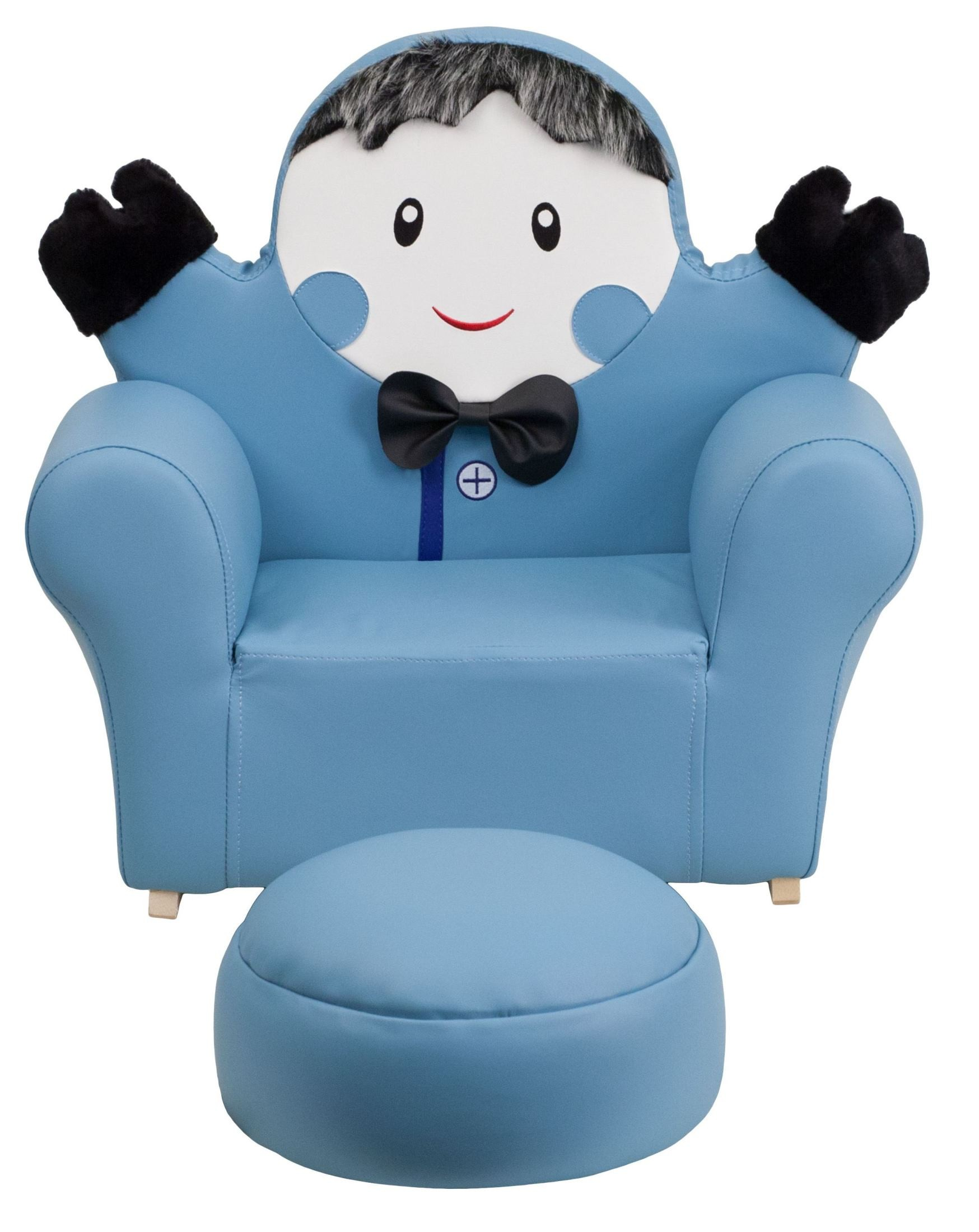 Kids blue little boy rocker chair and footrest from for Kids chairs for boys