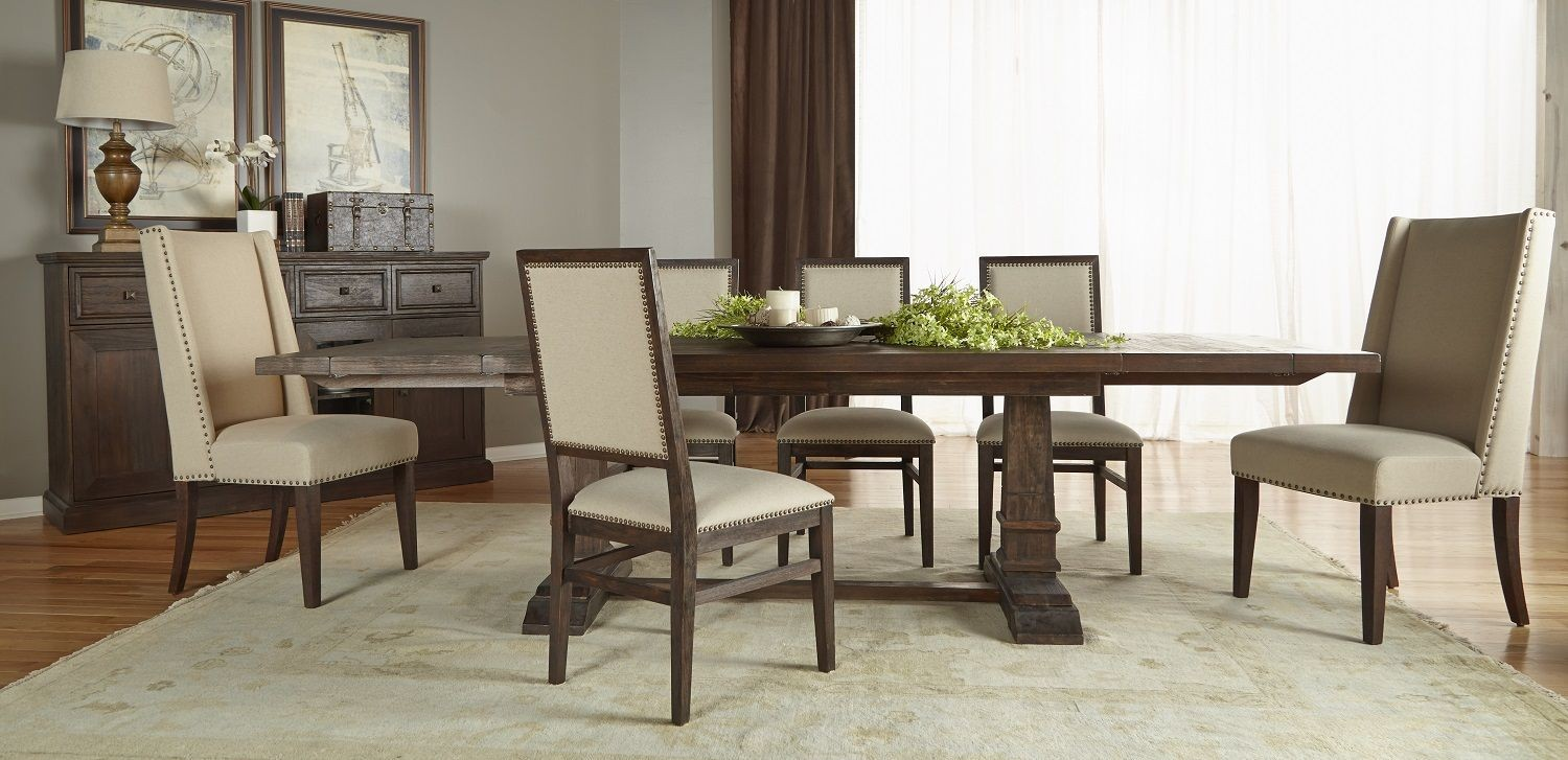 Hudson Rustic Java Rectangular Extendable Trestle Dining Room Set From Orient