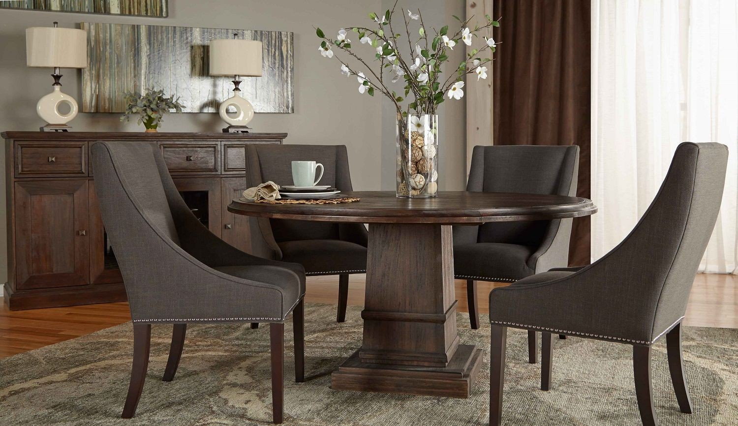 Hudson Rustic Java 60 Round Dining Room Set With Carson Dining Chairs F