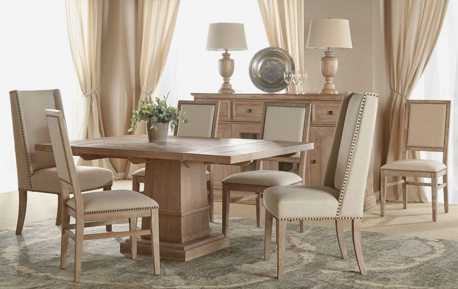 Hudson Stone Wash Square Extendable Pedestal Dining Room Set From Orient Expr