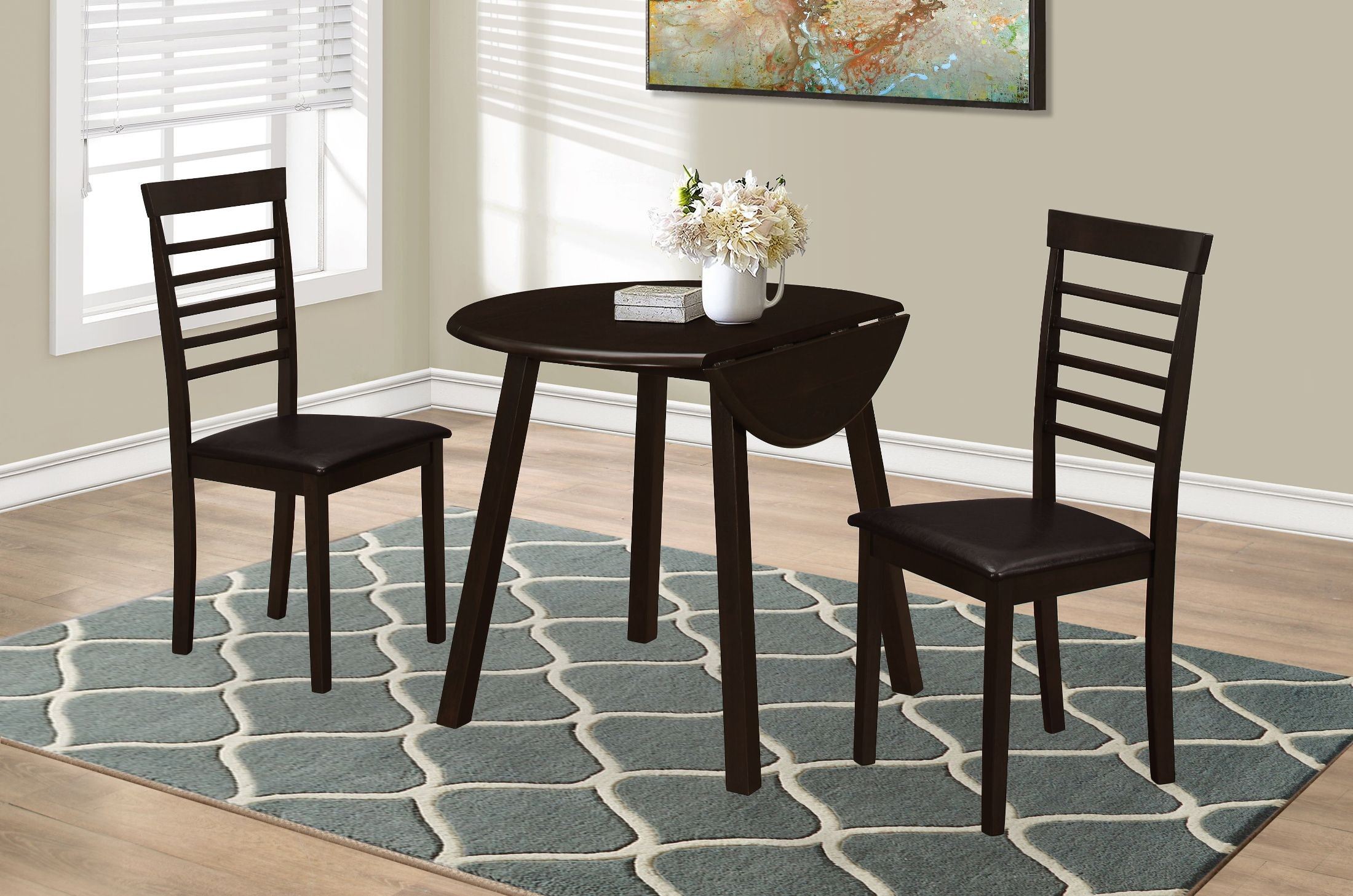36 quot cappuccino 3 piece dining room set 1004 monarch
