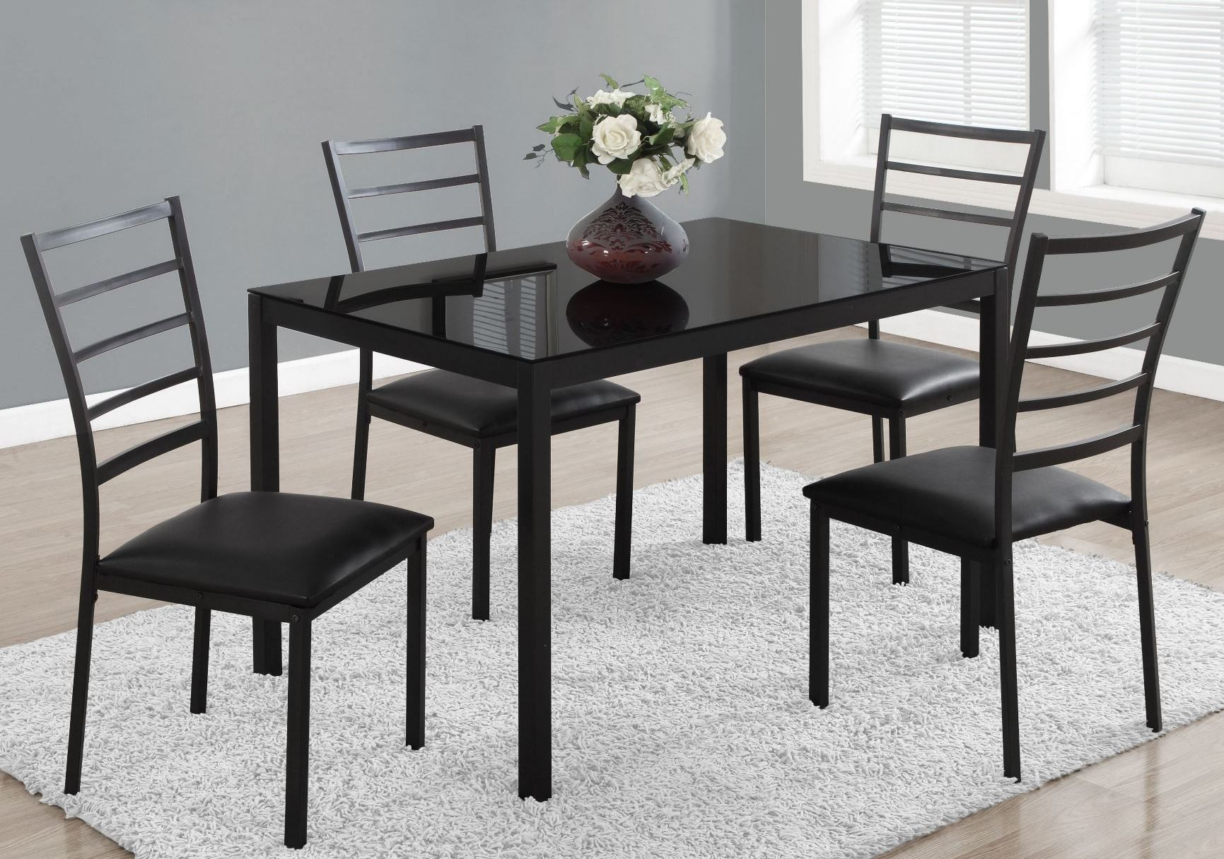 Black metal 5 piece rectangular dining room set 1025 monarch for 2 piece dining room set