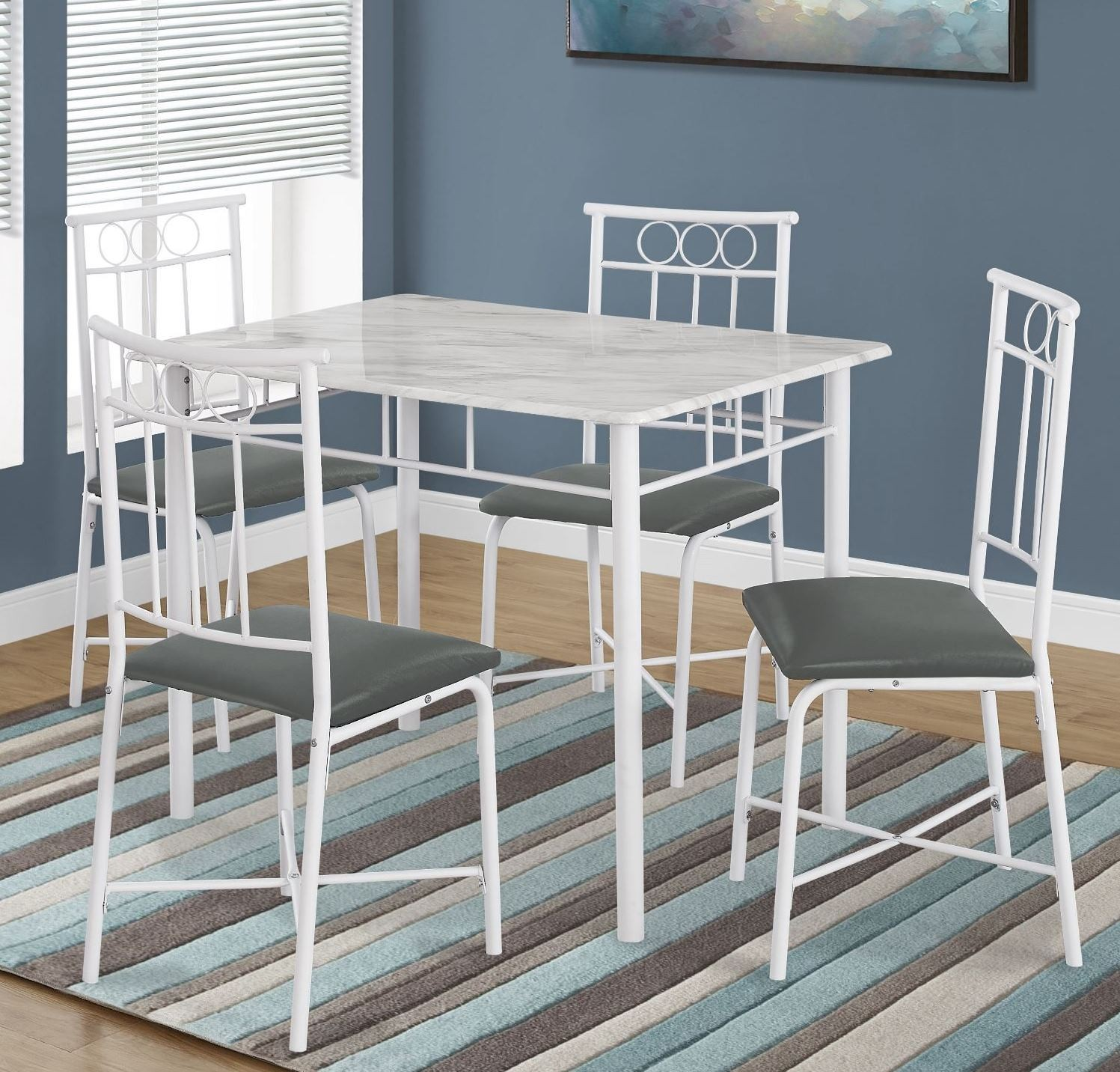 1030 white metal 5 piece dining room set 1030 monarch