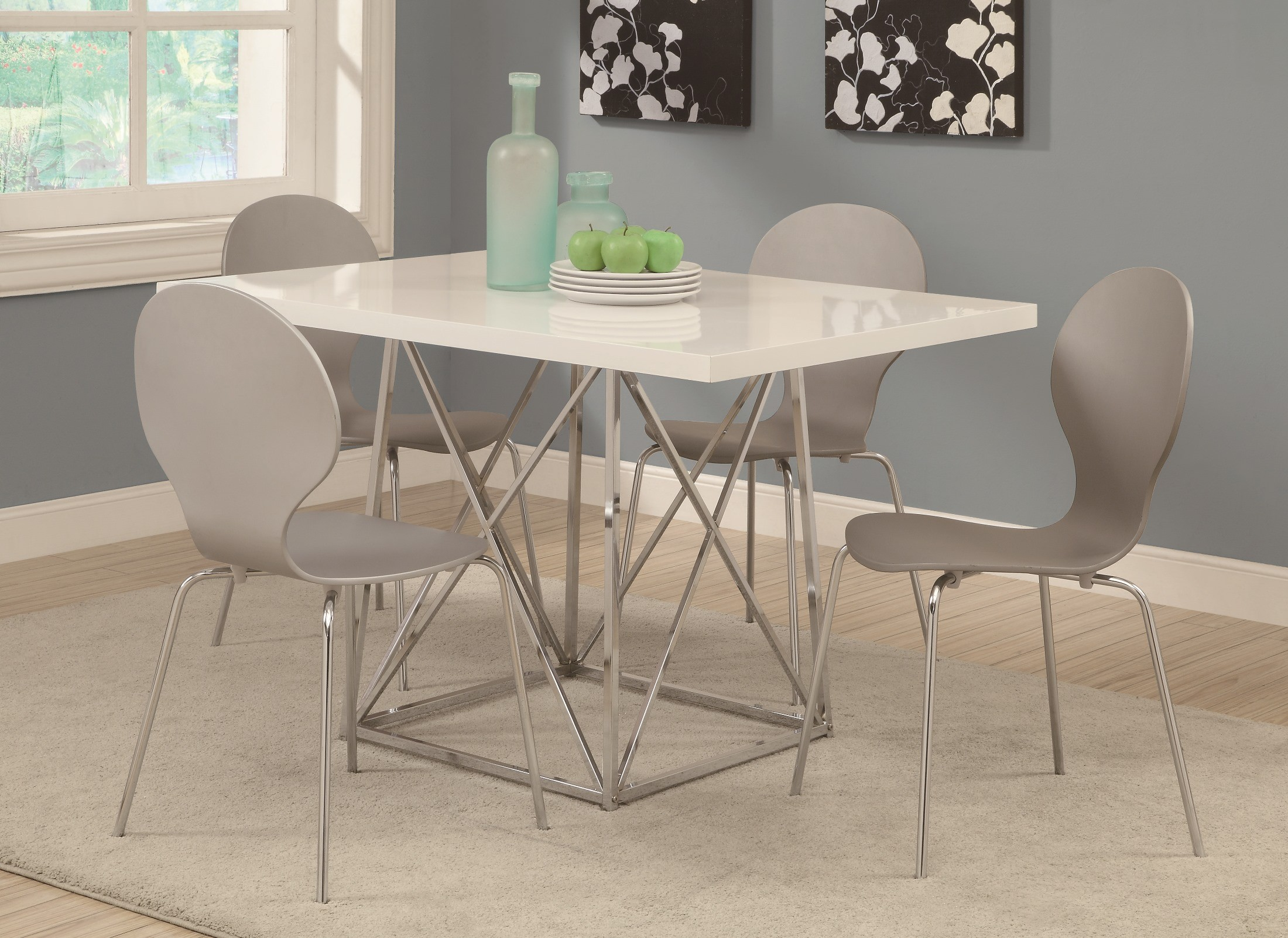 1046 white glossy chrome metal dining table from monarch - White metal dining table ...