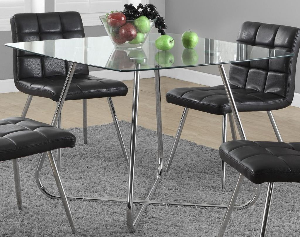 Chrome Metal Glass 40 Diameter Dining Table From Monarch 1070 Colem