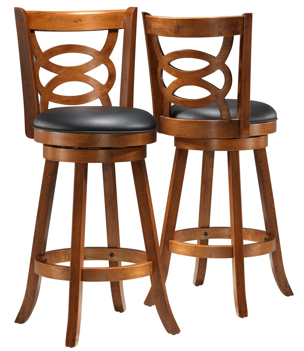 1251 Dark Oak Solid Wood 42 Quot Swivel Barstool Set Of 2 From