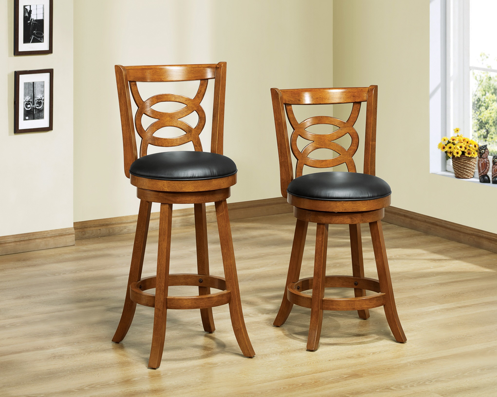 Wonderful image of 1252 Dark Oak Solid Wood 39 Swivel Counter Stool Set of 2 from  with #B89913 color and 2041x1631 pixels