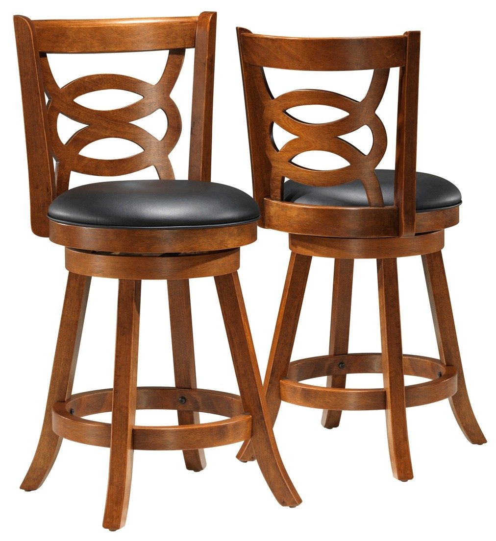 Wood Stools Product ~ Dark oak solid wood quot swivel counter stool set of