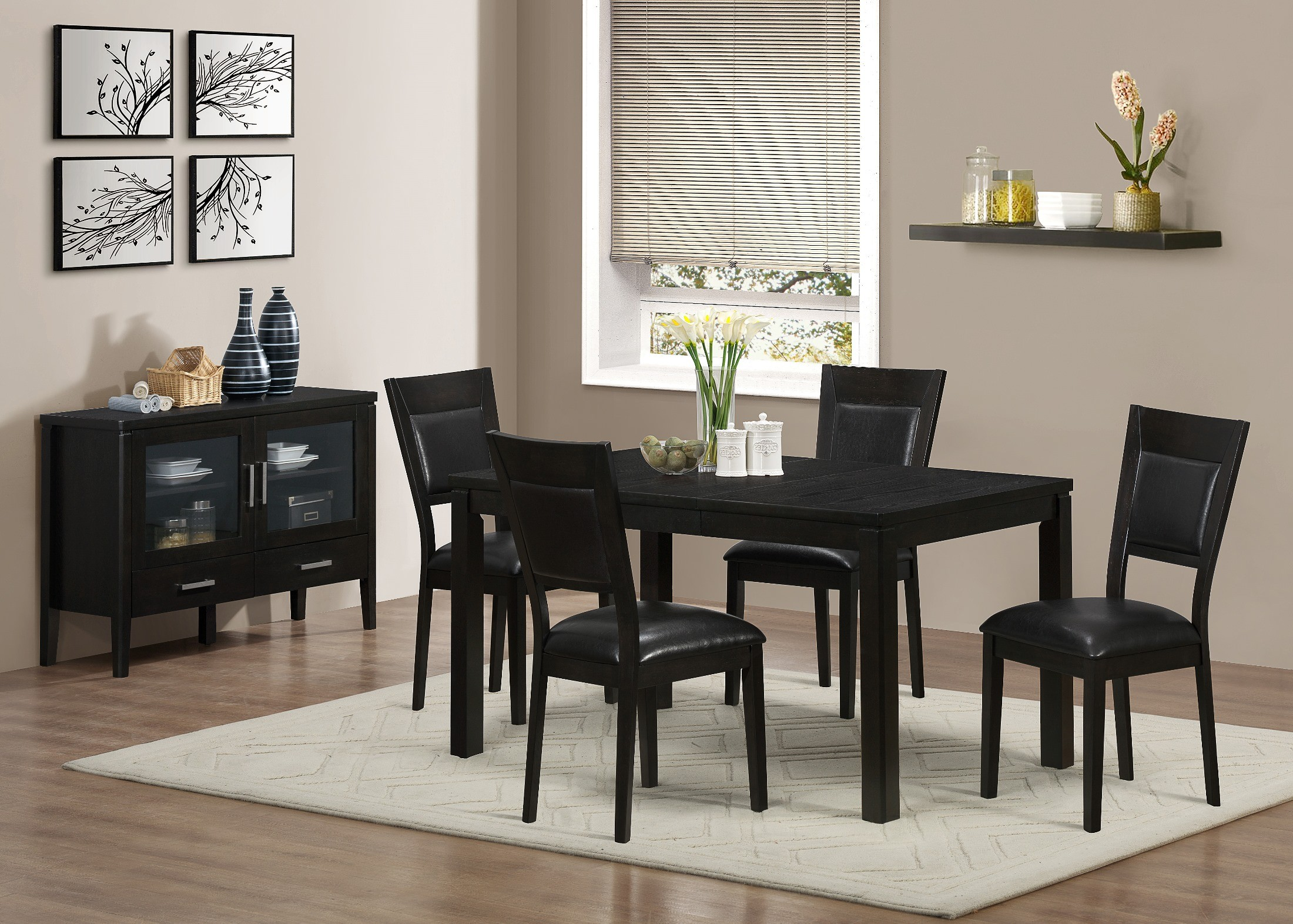 1490 cappuccino ash veneer extendable dining room set 1490 monarch - Extending dining room sets ...