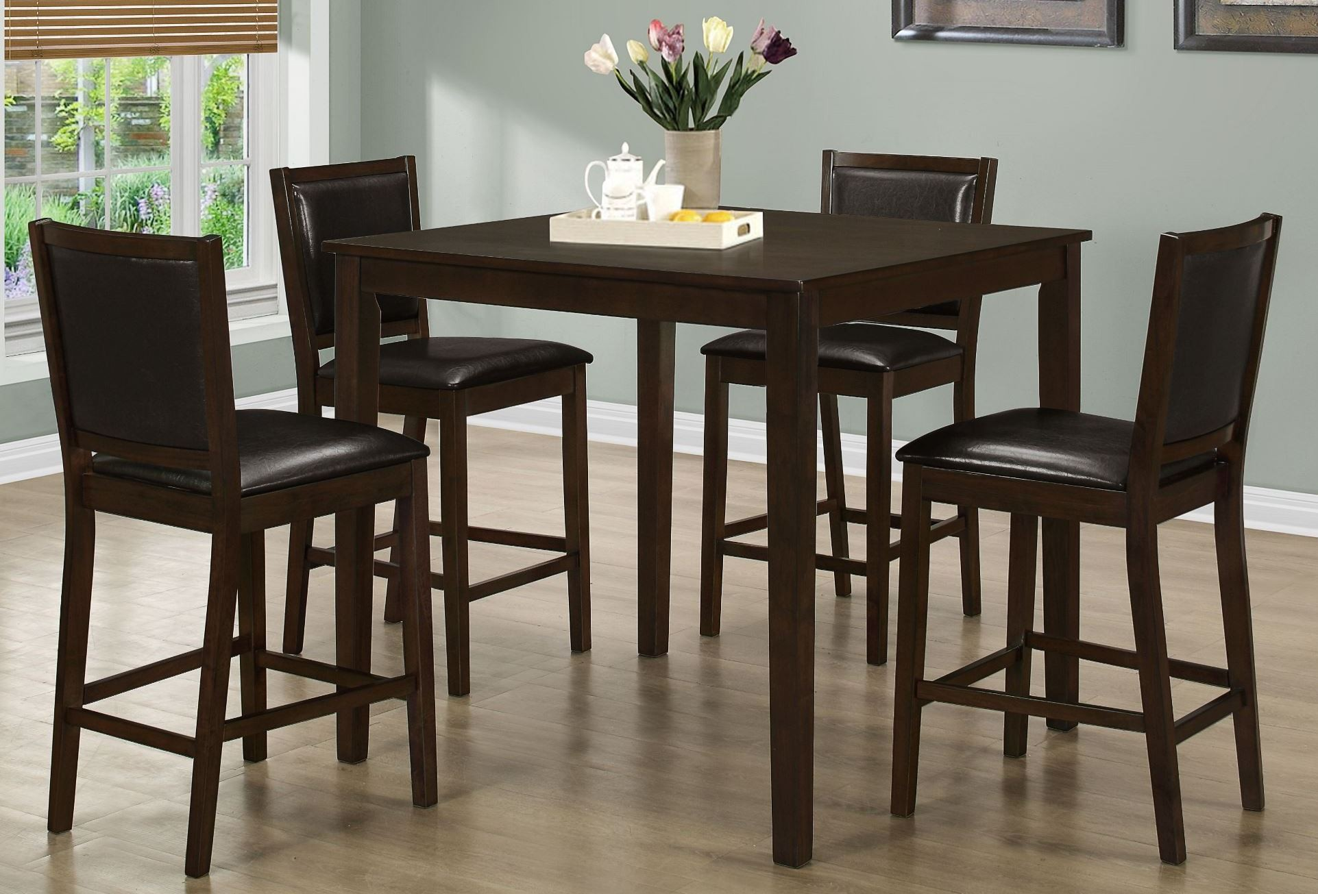 Walnut 5 piece counter height dining room set 1549 monarch for Dining room sets
