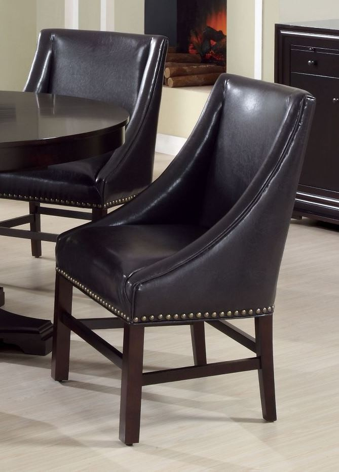 dark brown bonded leather 38 dining chair set of 2 1716 monarch